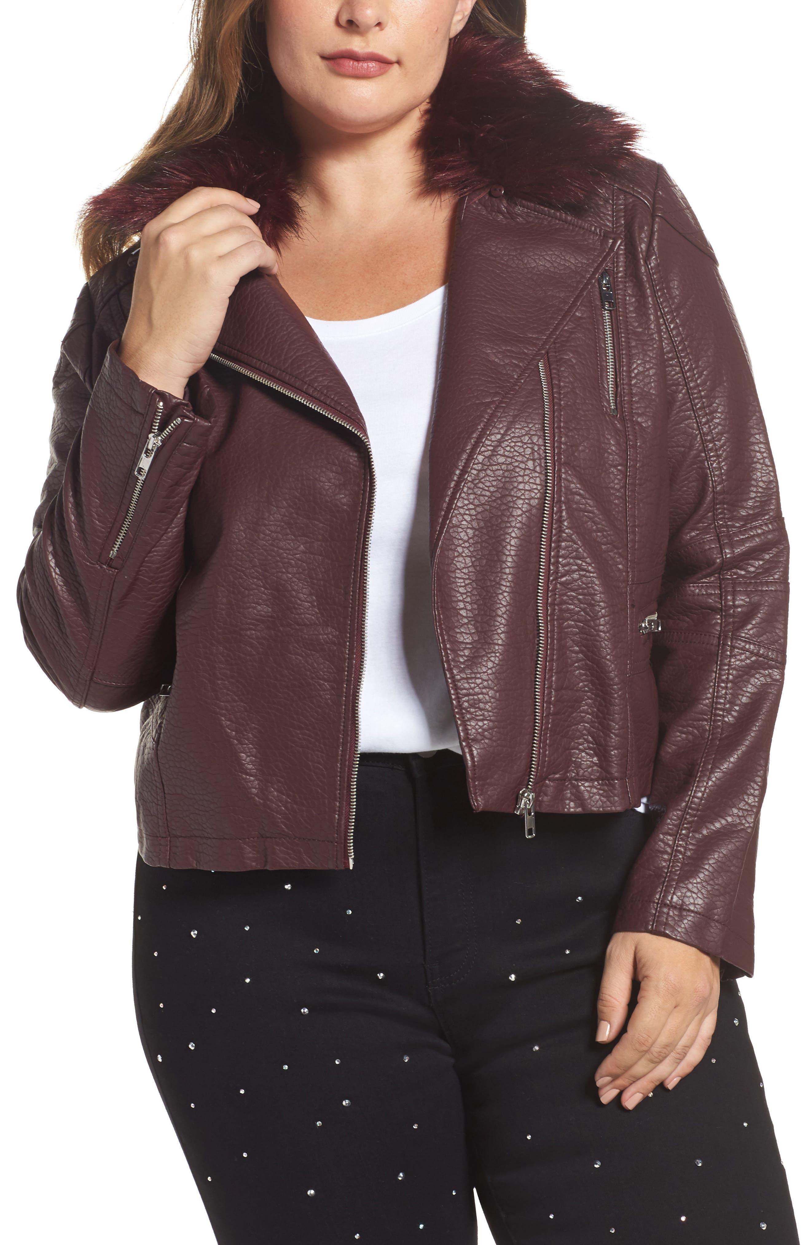 Main Image - LOST INK Faux Fur Trim Moto Jacket (Plus Size)