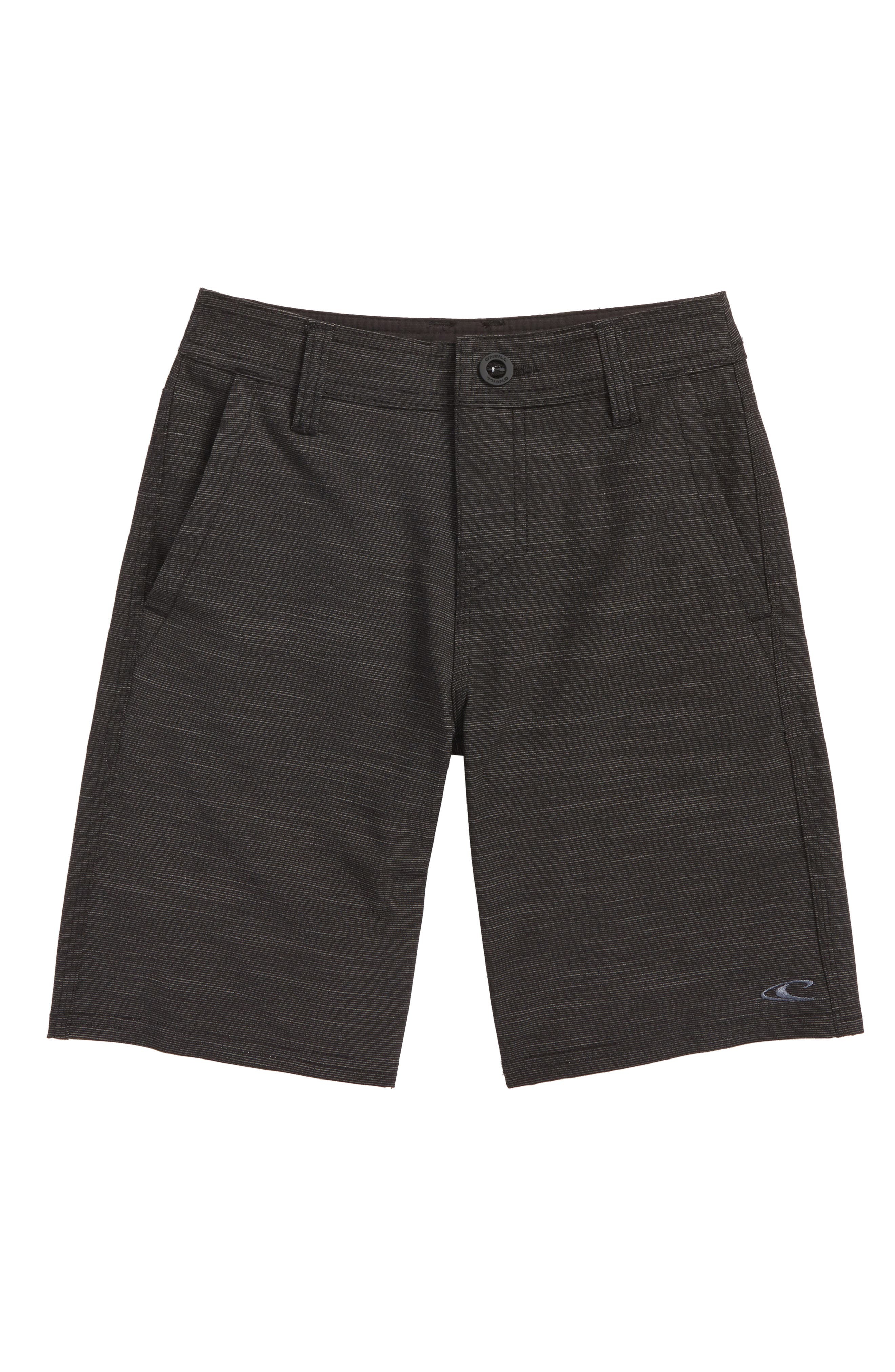 Locked Slub Hybrid Board Shorts,                             Main thumbnail 1, color,                             Black