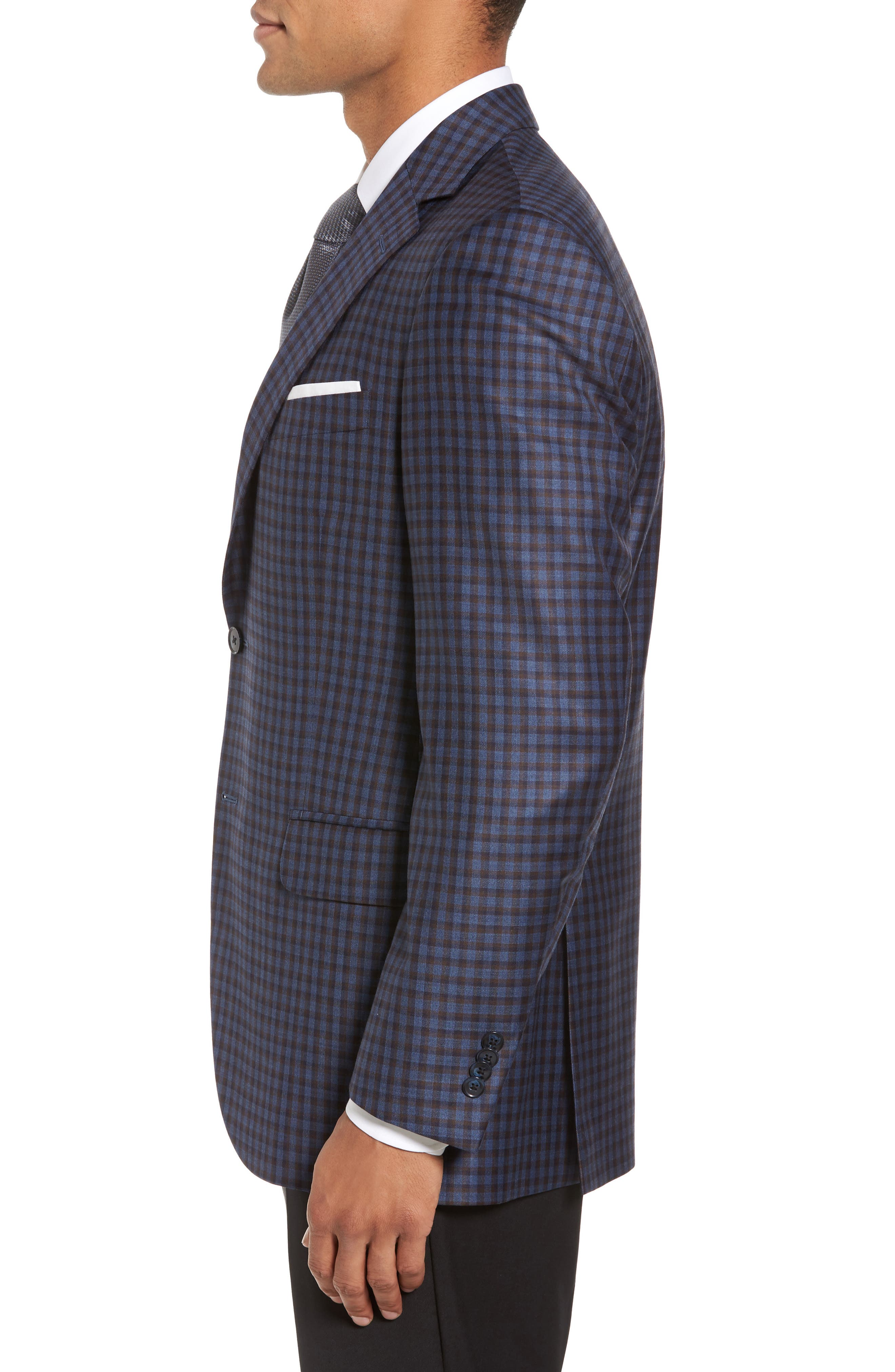 Classic Fit Check Wool Sport Coat,                             Alternate thumbnail 3, color,                             Blue