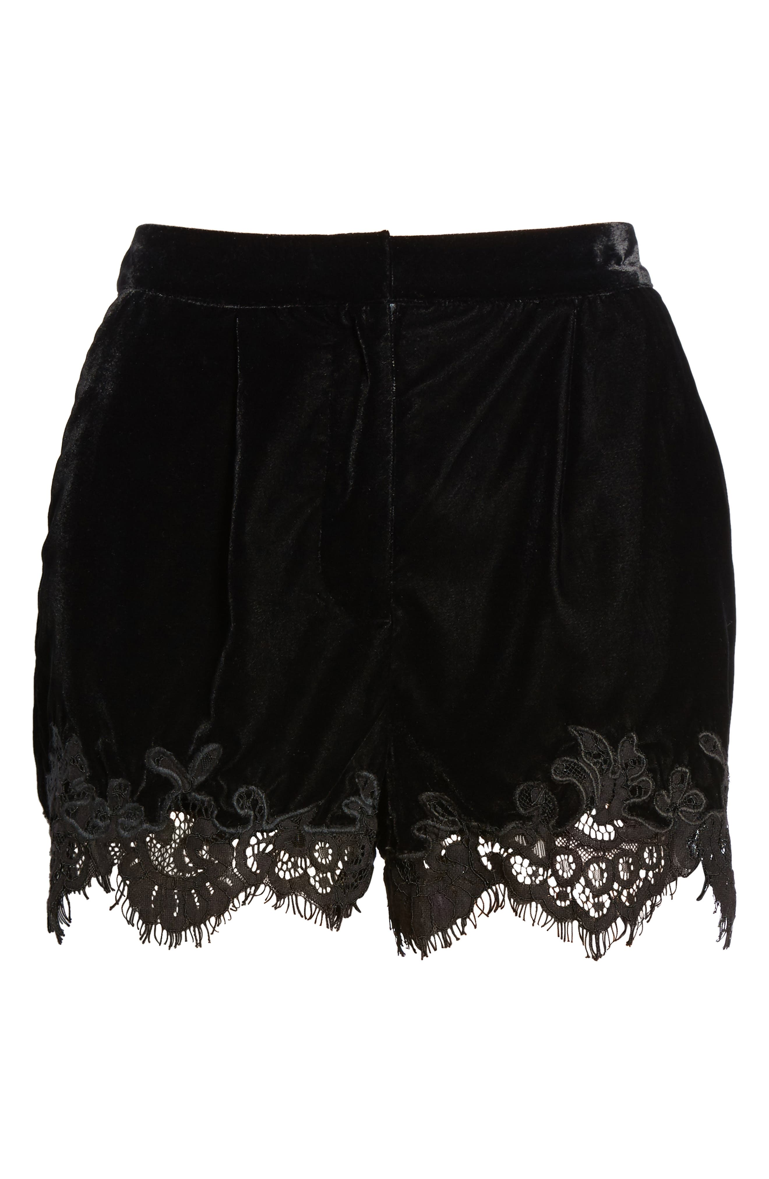 Amelia Lace & Velvet Shorts,                             Alternate thumbnail 7, color,                             Black