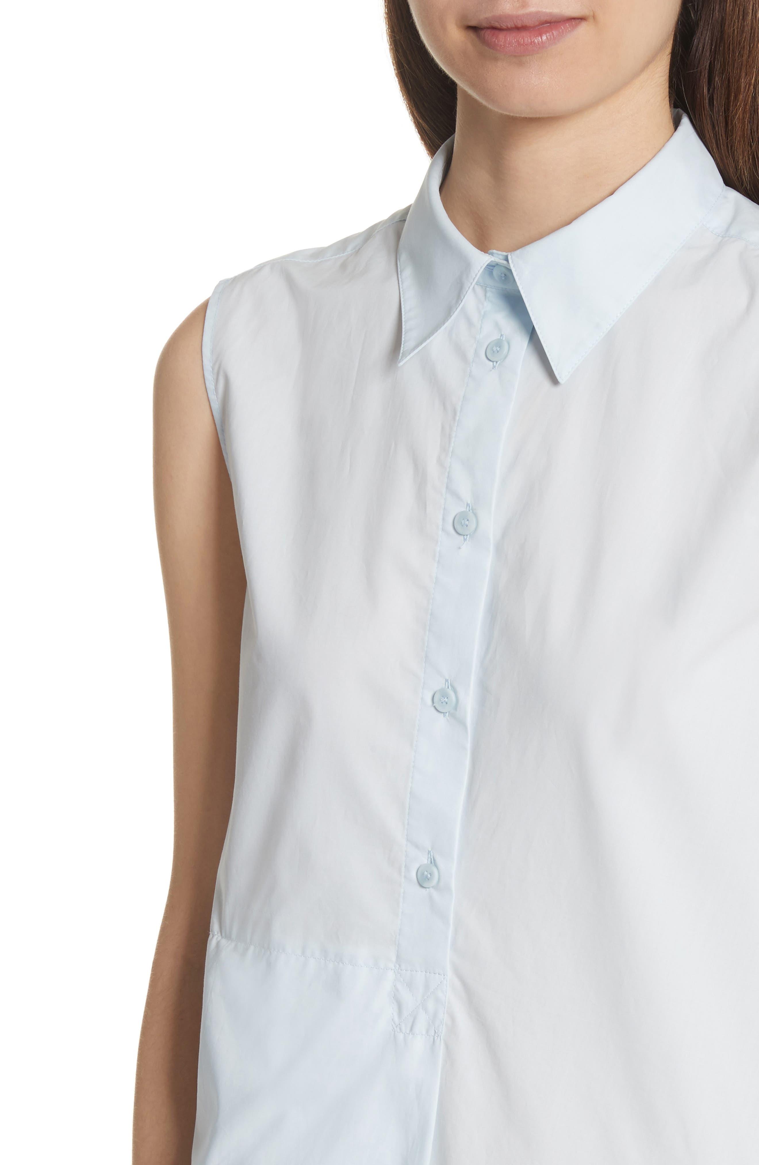 Sleeveless Shirtdress,                             Alternate thumbnail 4, color,                             Powder Blue