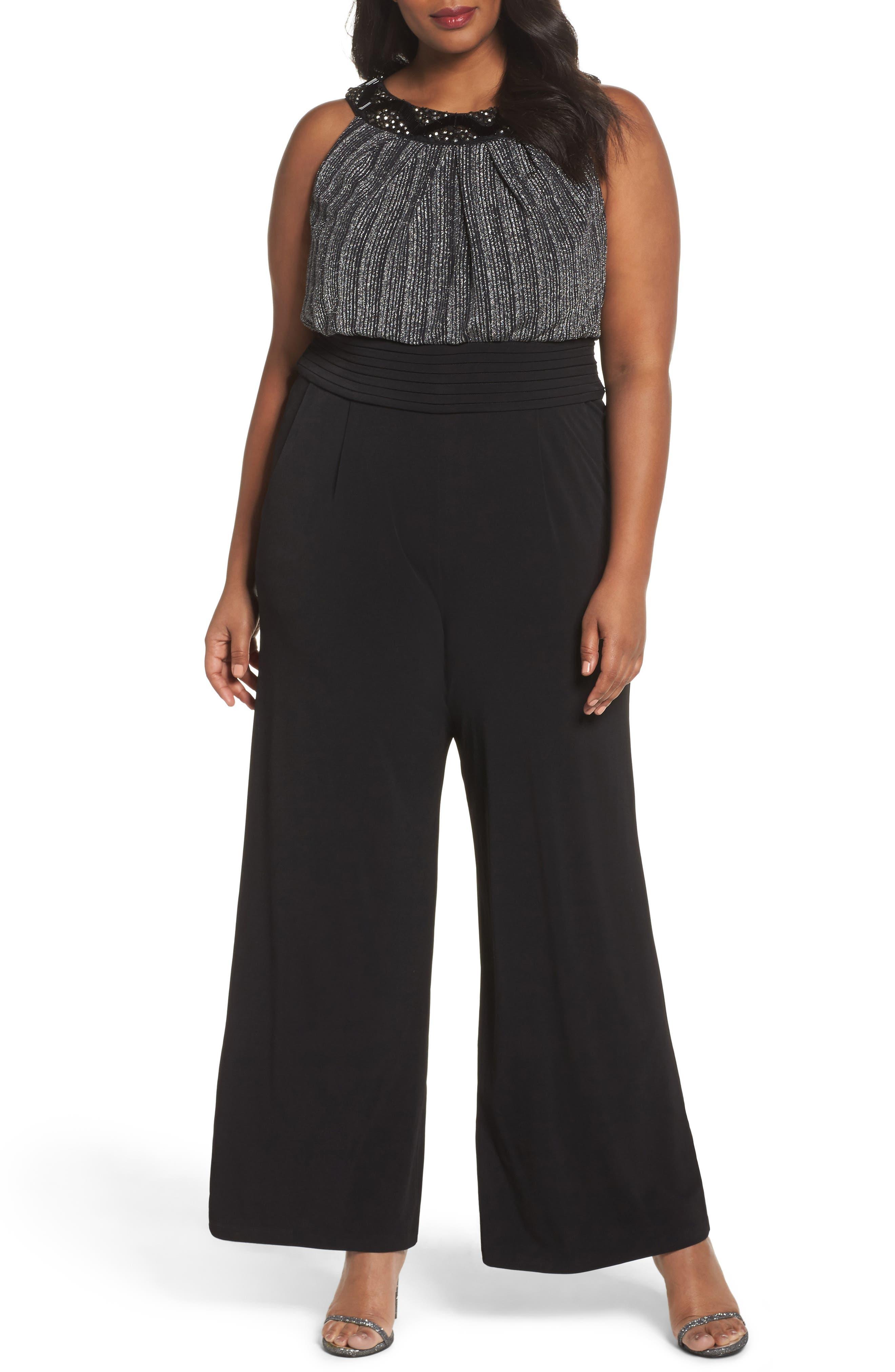Sangria Beaded Neck Jumpsuit (Plus Size)