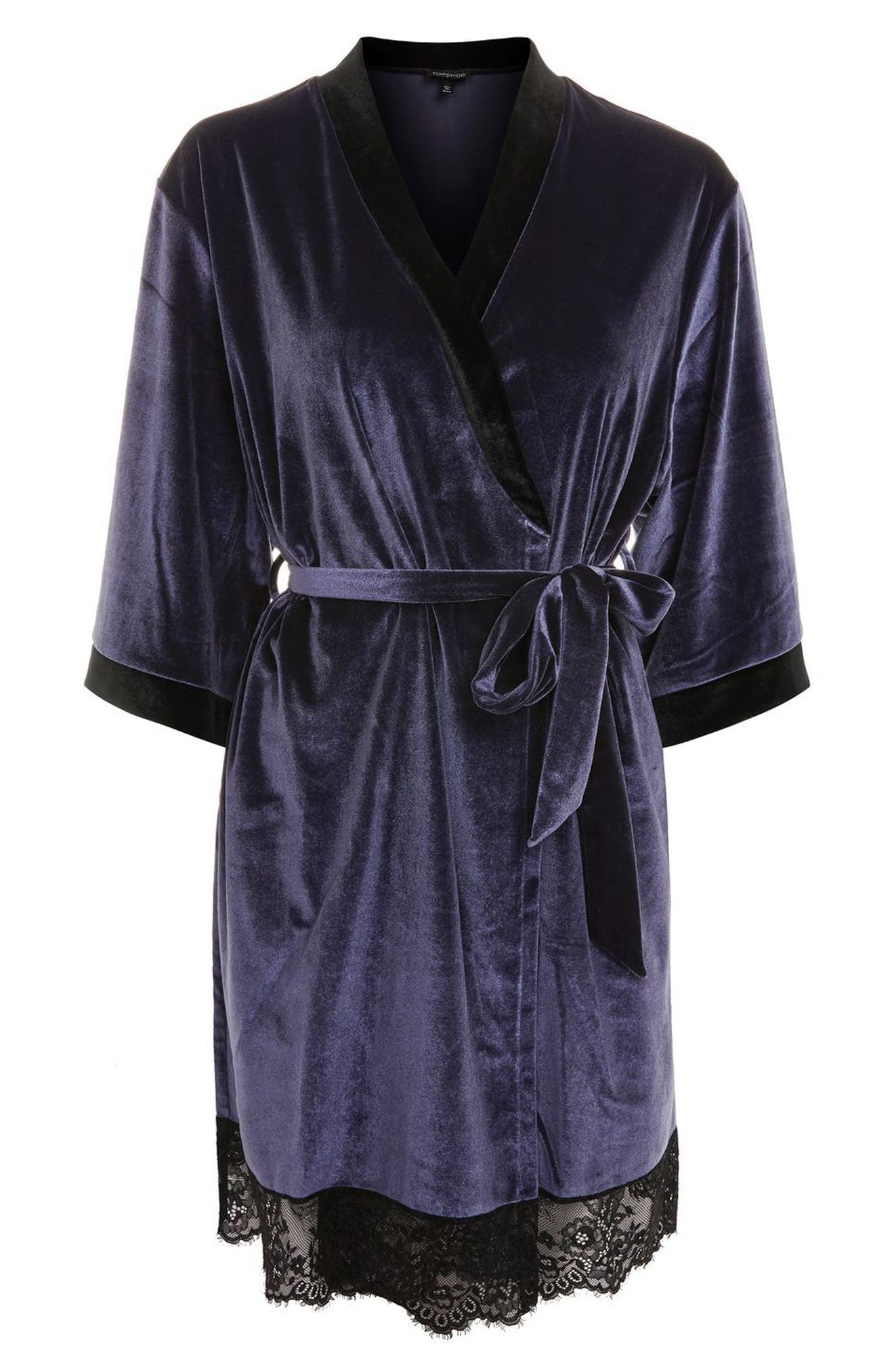 Nocturne Lace and Velvet Robe,                             Alternate thumbnail 3, color,                             Navy Blue