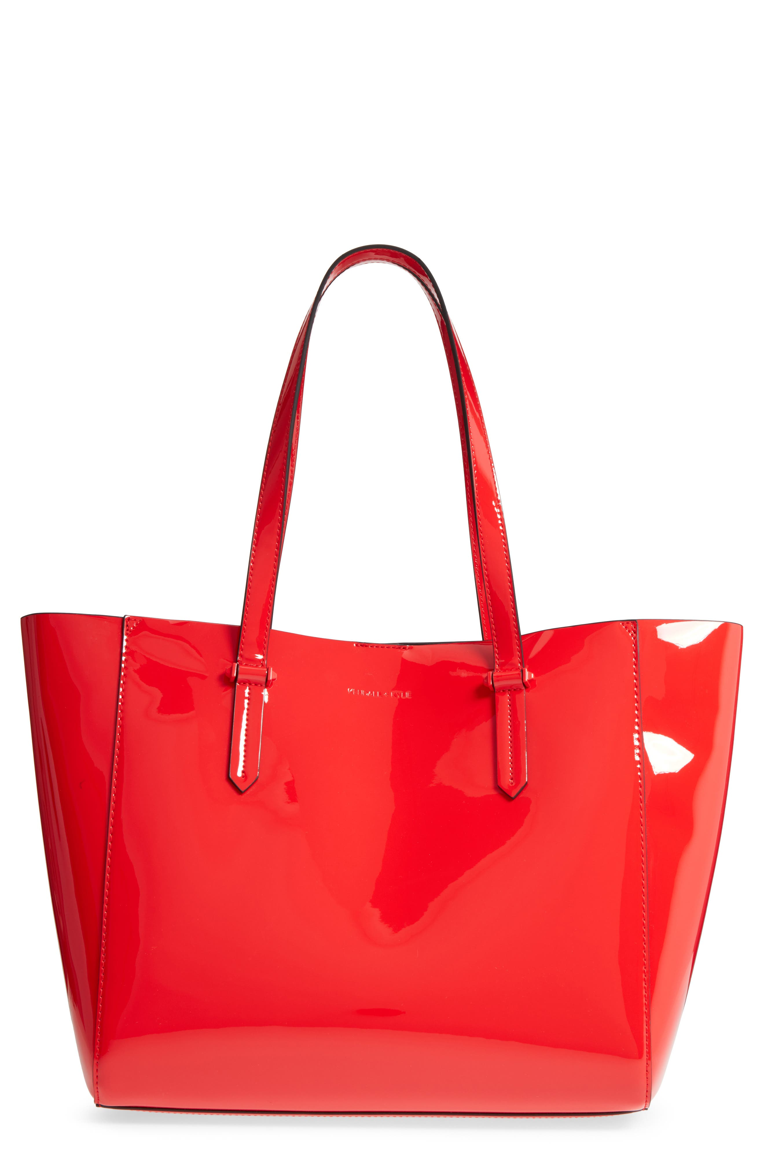 Izzy Faux Leather Tote,                             Main thumbnail 1, color,                             Red