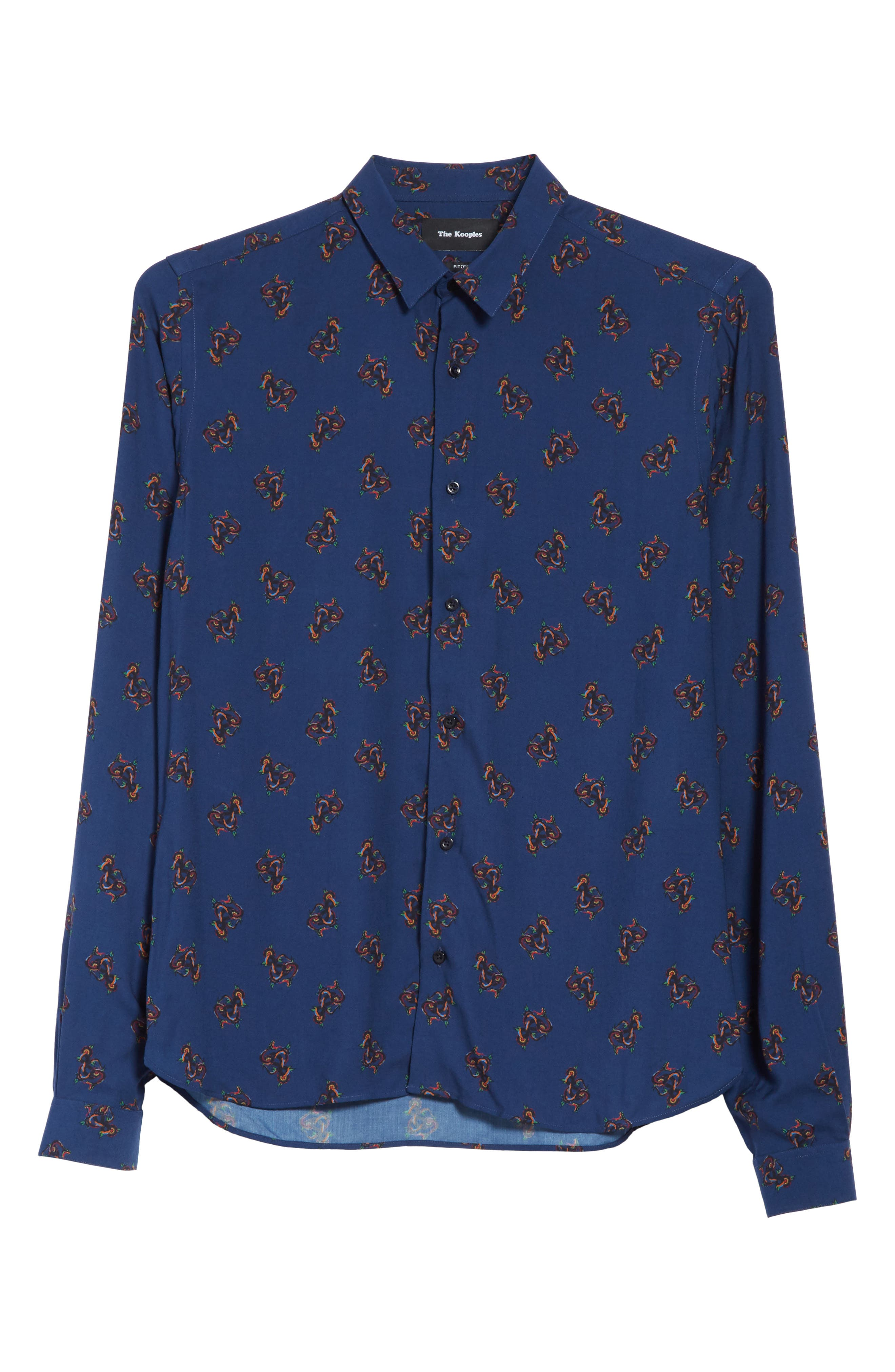 Print Woven Shirt,                             Alternate thumbnail 6, color,                             Navy