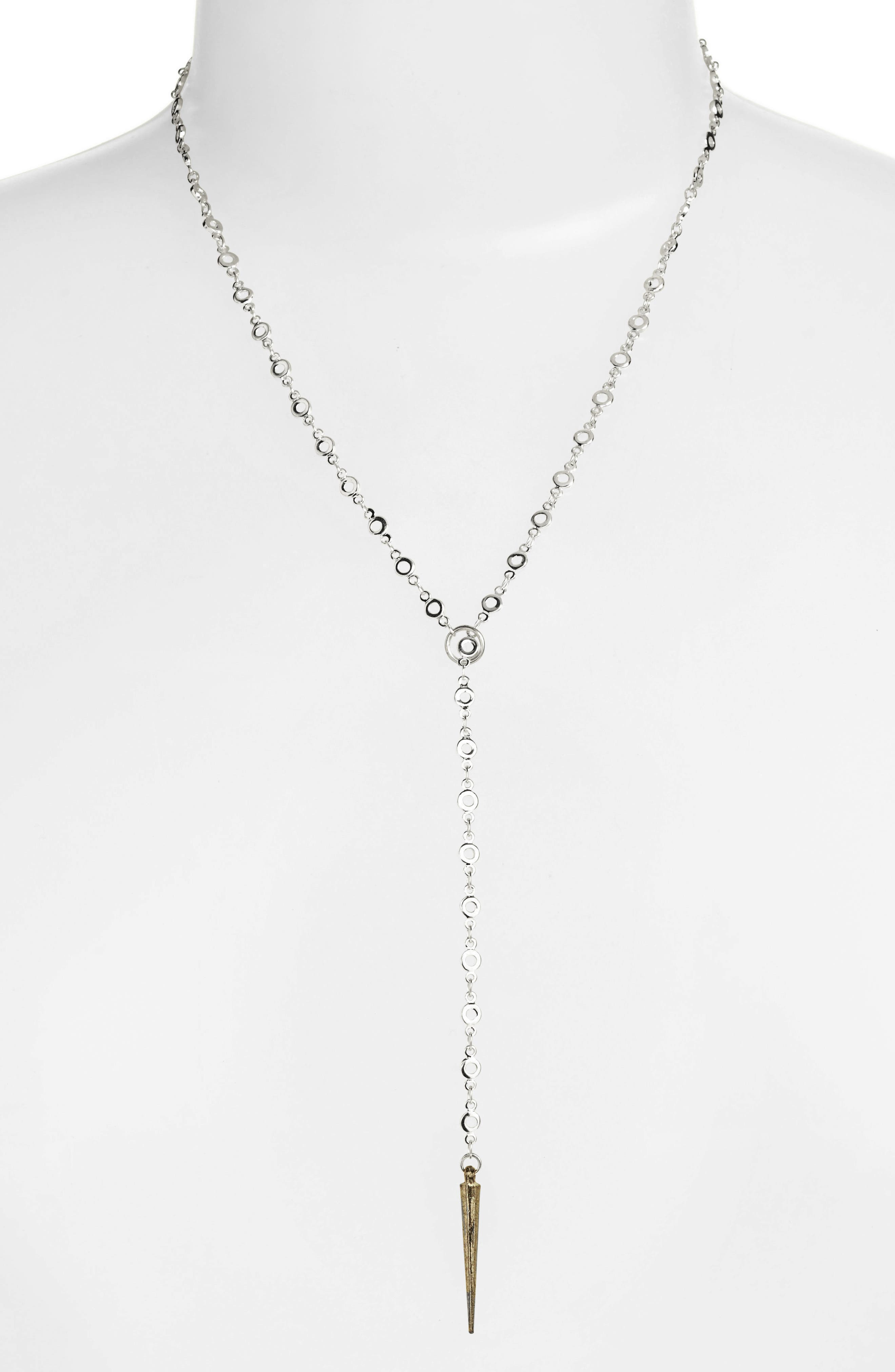Everyday Lariat Necklace,                         Main,                         color, Silver