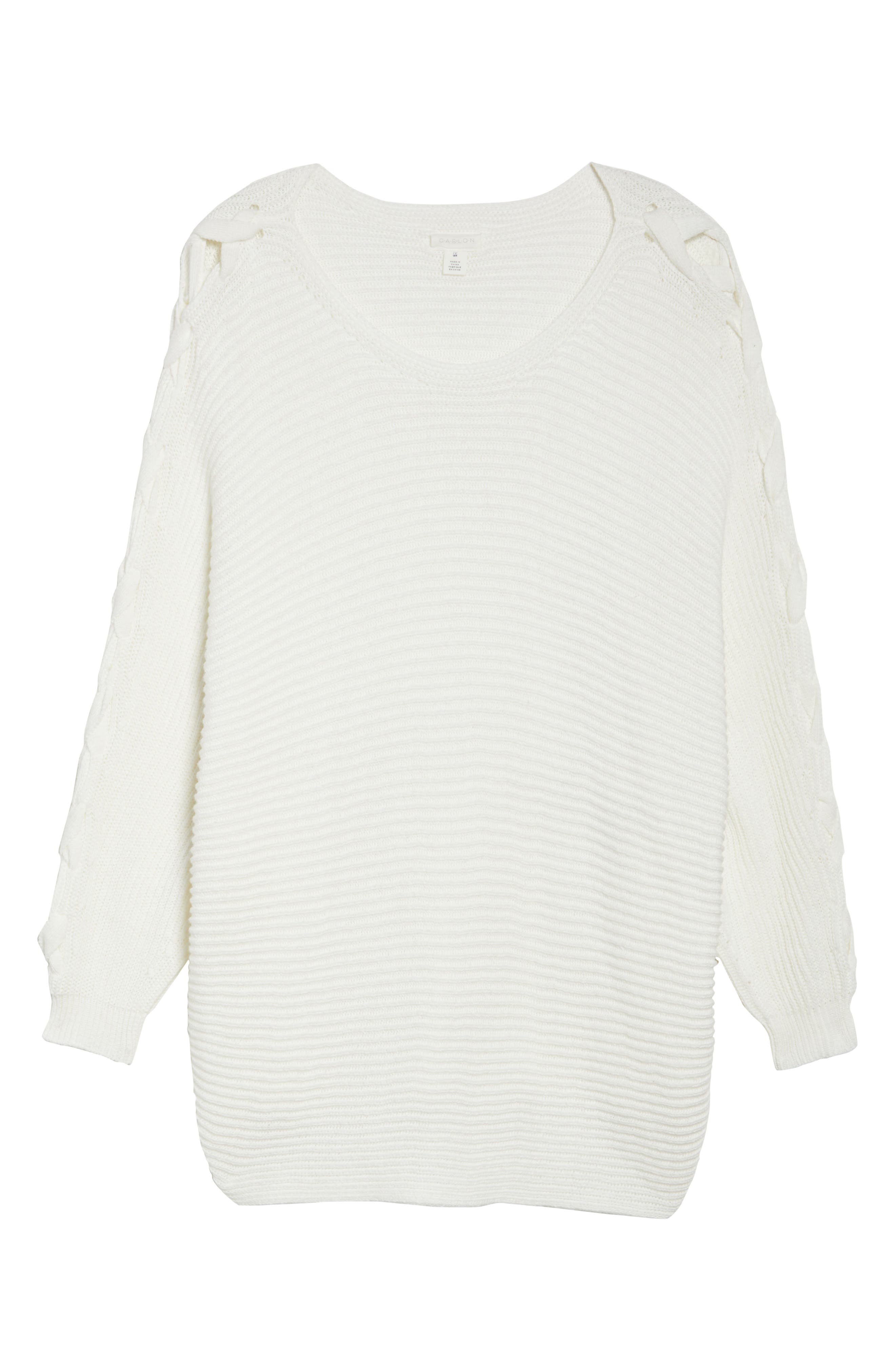 Lace-Up Sleeve Sweater,                             Alternate thumbnail 6, color,                             Ivory Cloud