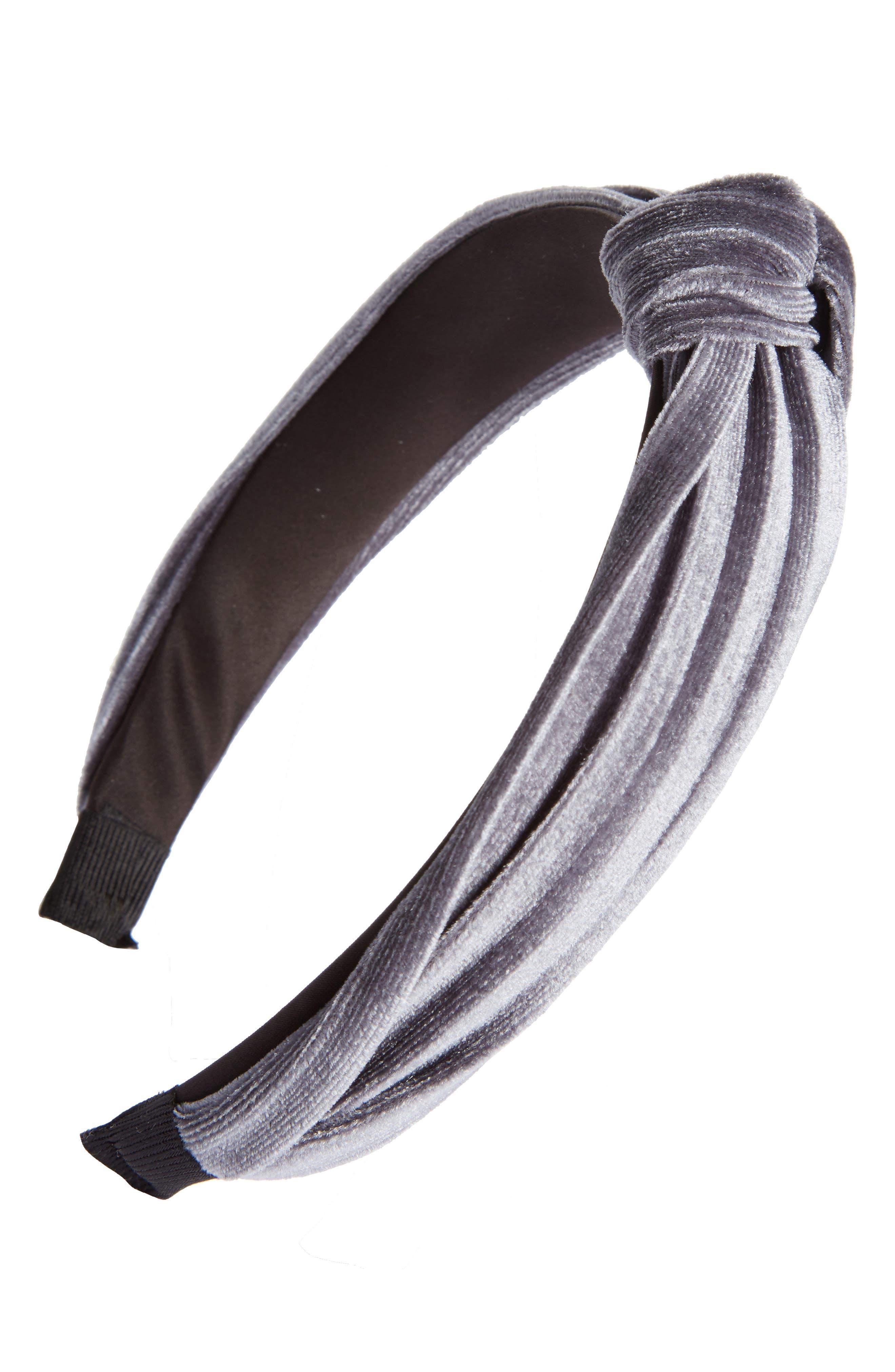 Velvet Knot Headband,                         Main,                         color, Grey