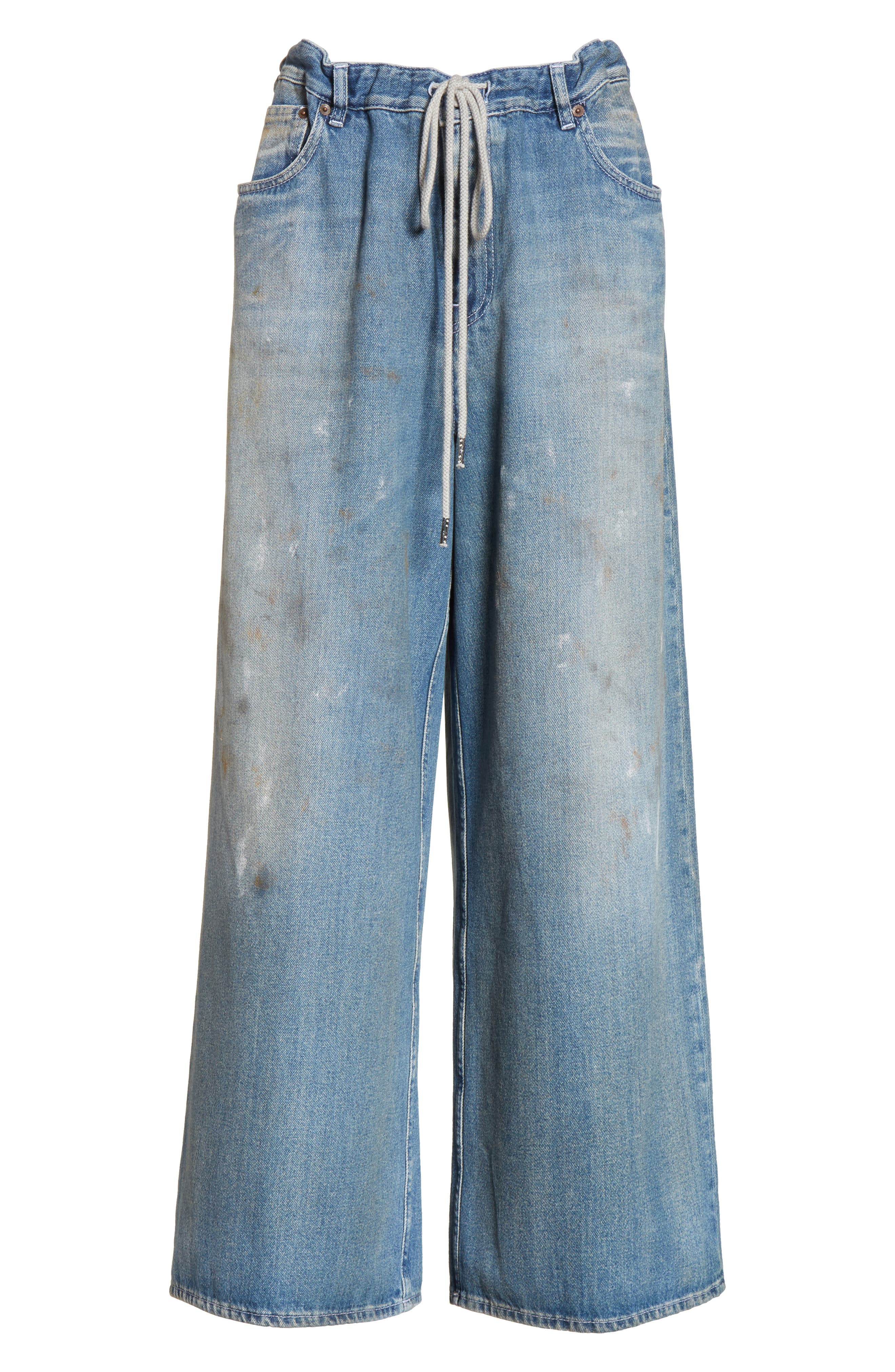 Drawstring Wide Leg Jeans,                             Alternate thumbnail 6, color,                             Indigo Stone Wash