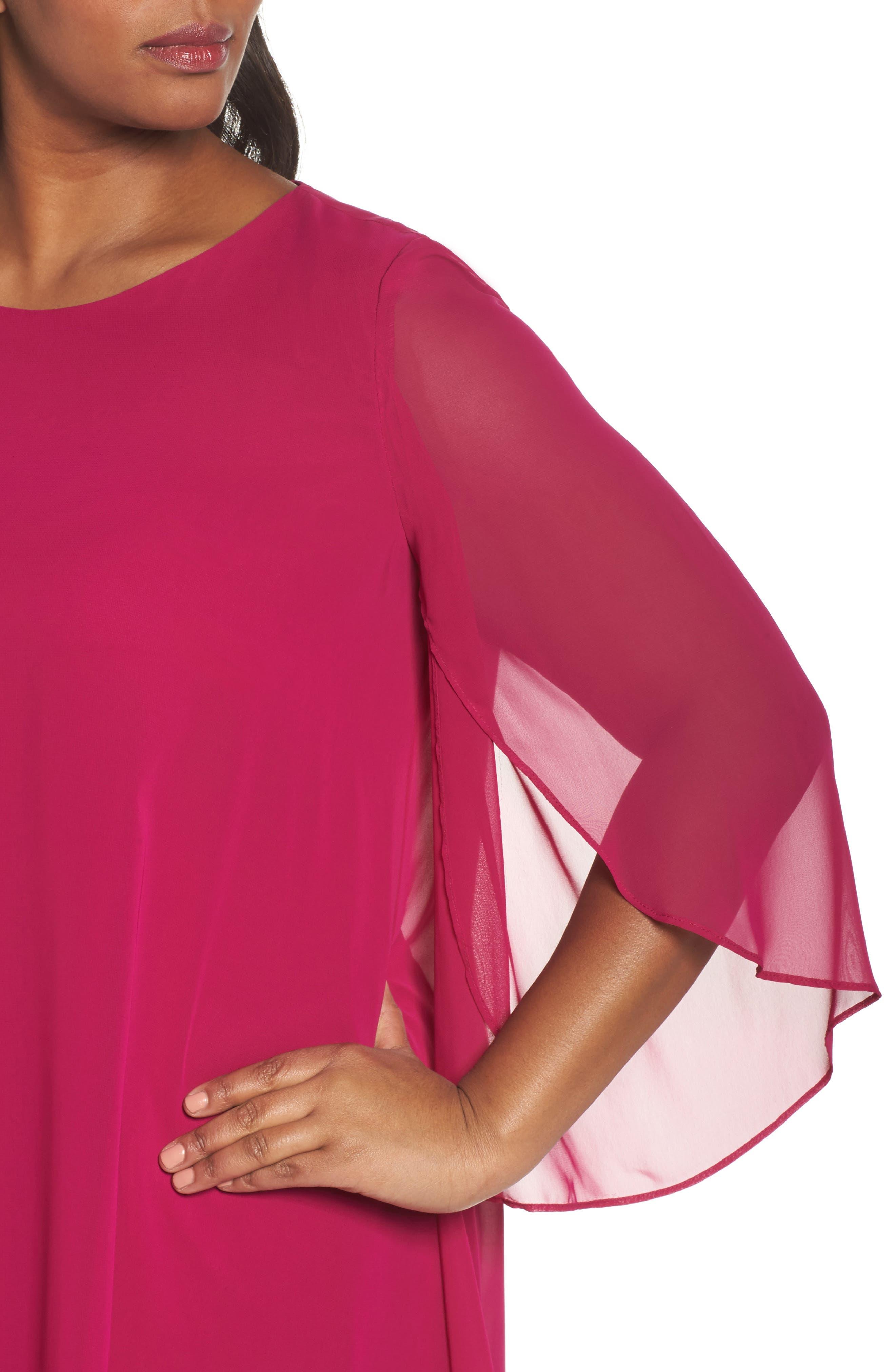 Chiffon Cape Sheath Dress,                             Alternate thumbnail 4, color,                             Magenta