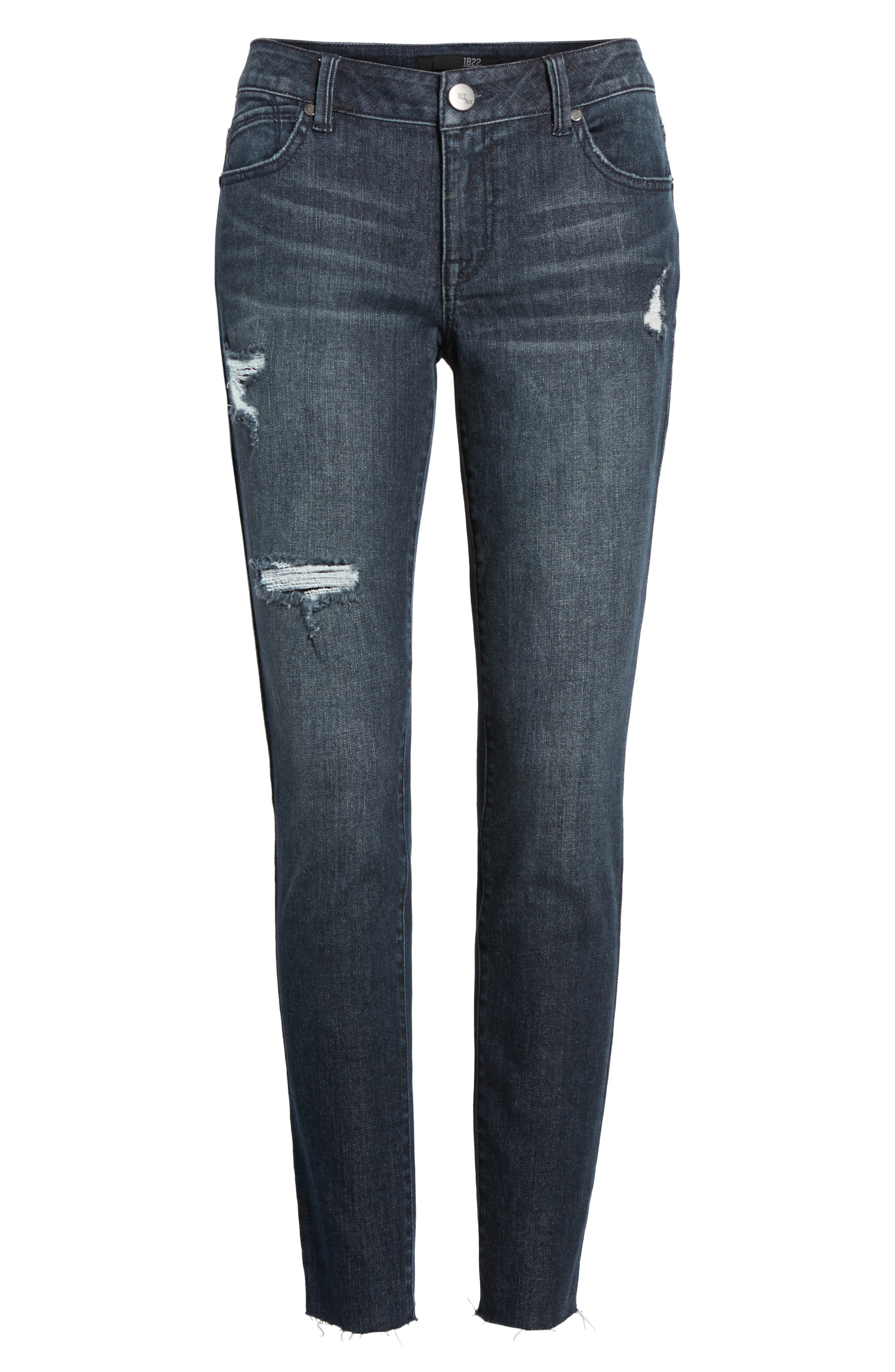 Alternate Image 6  - 1822 Denim Distressed Skinny Jeans (Palin)