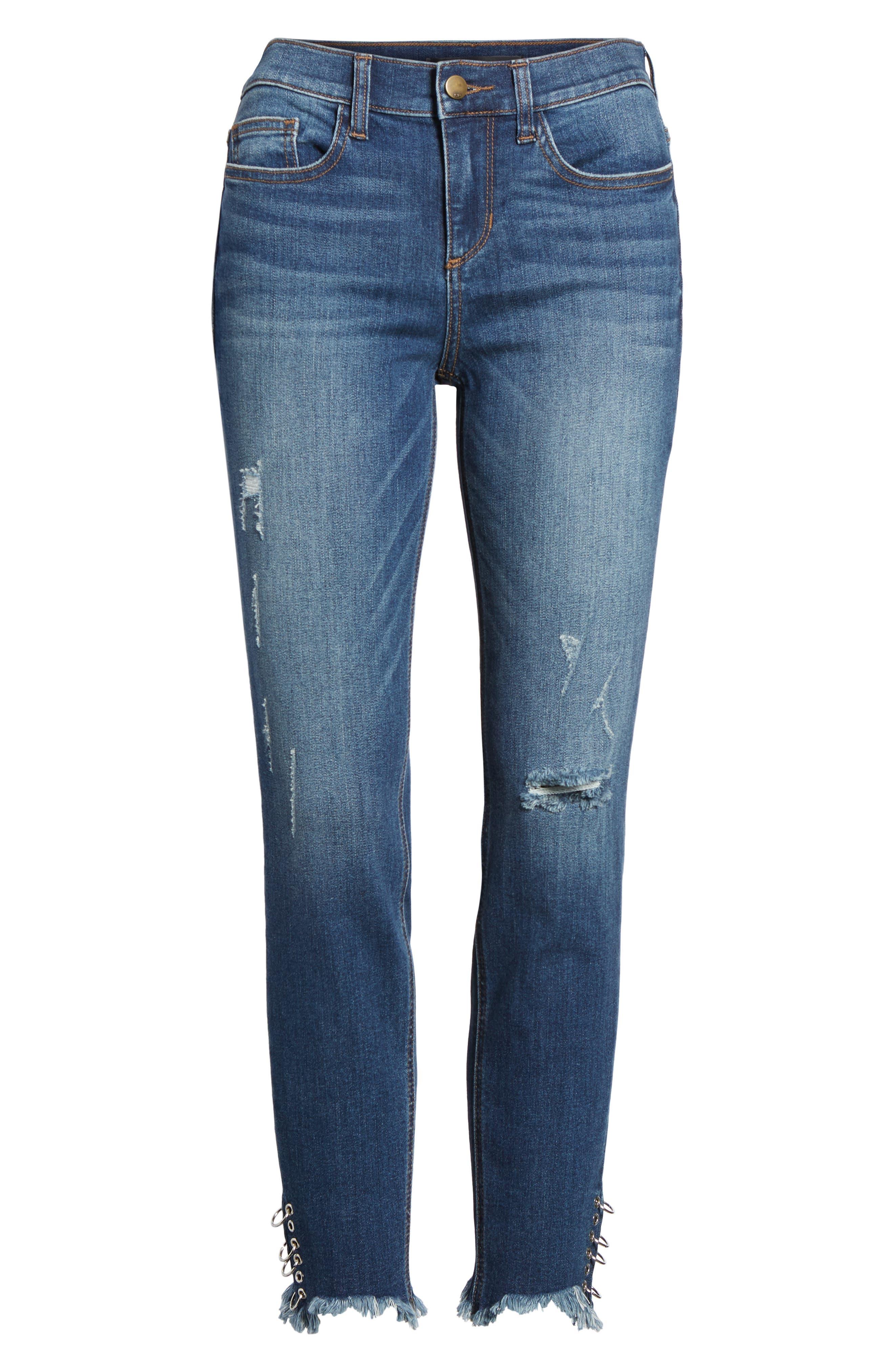 Pierced Hem Skinny Jeans,                             Alternate thumbnail 7, color,                             Medium Wash