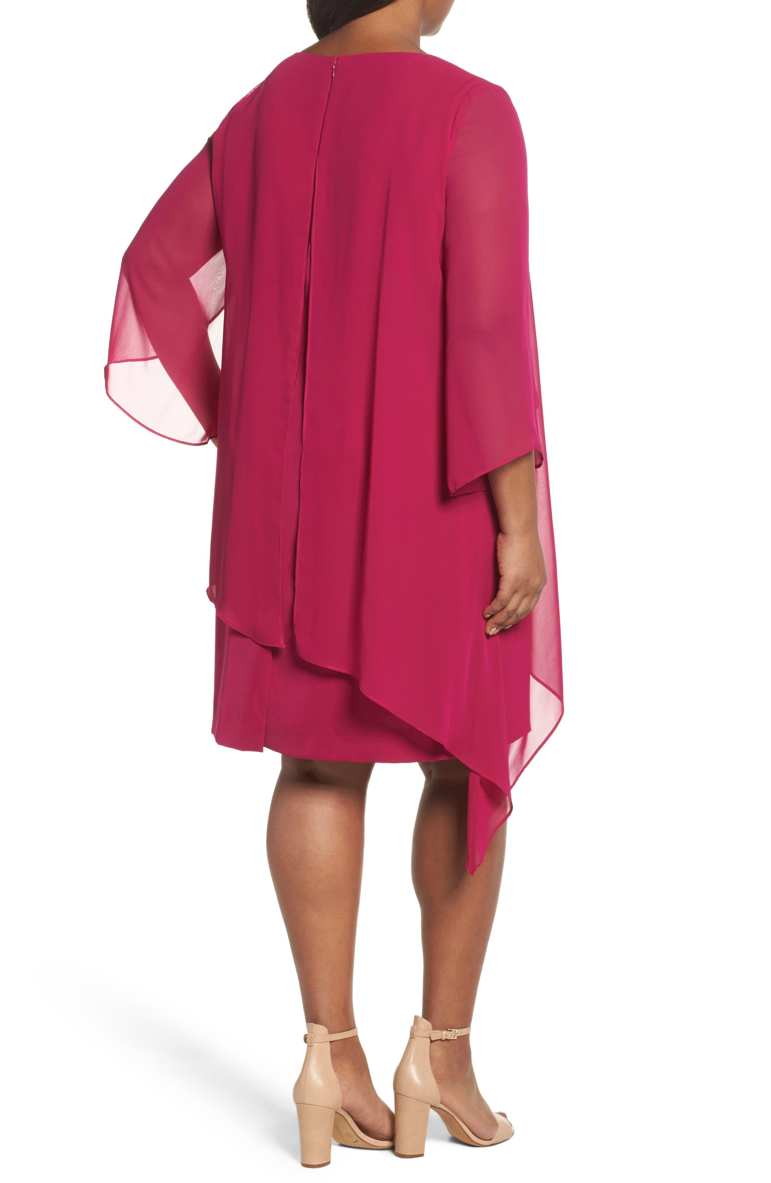 Chiffon Cape Sheath Dress,                             Alternate thumbnail 2, color,                             Magenta