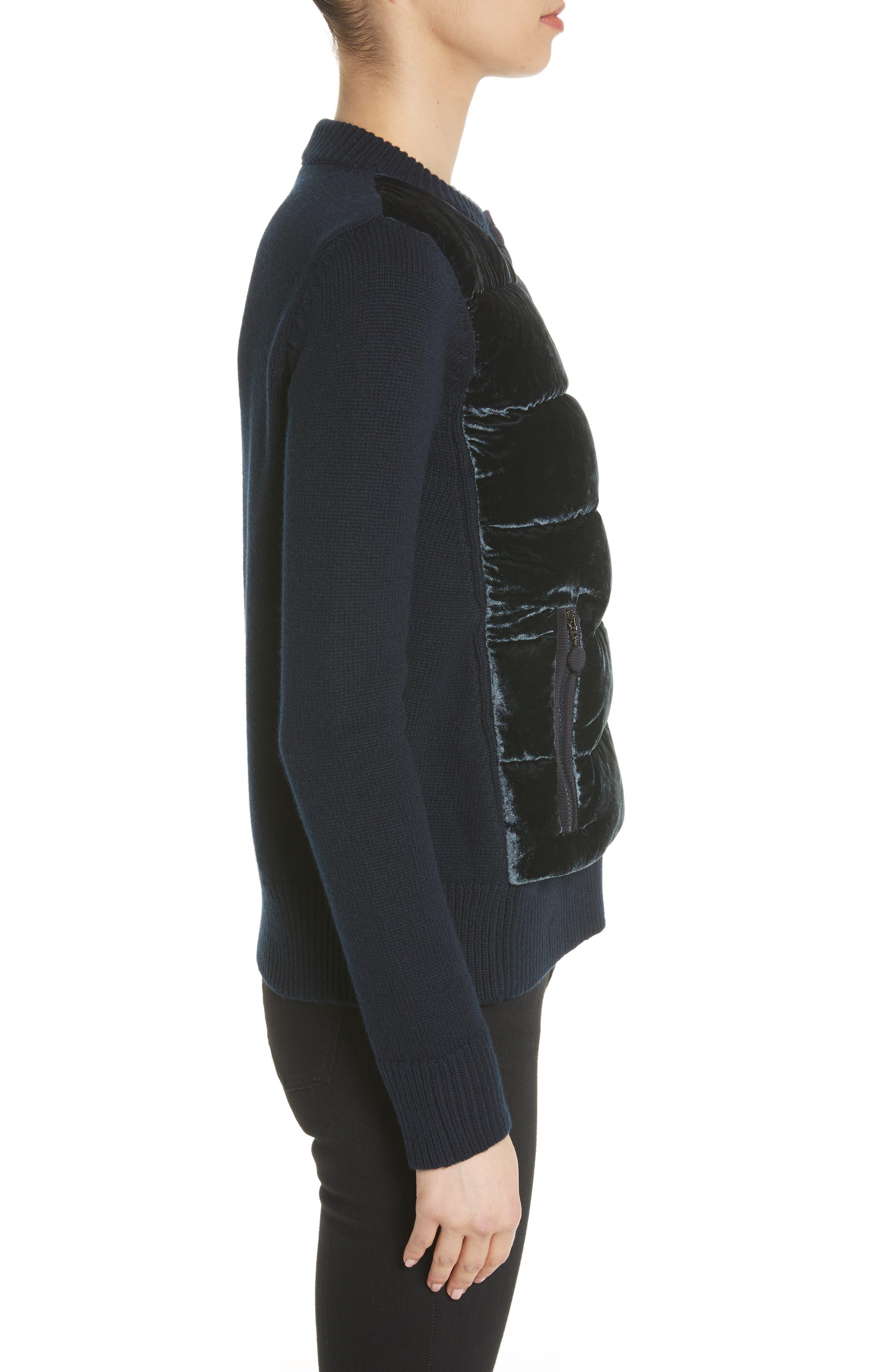 Quilted Velvet & Knit Cardigan,                             Alternate thumbnail 3, color,                             Navy
