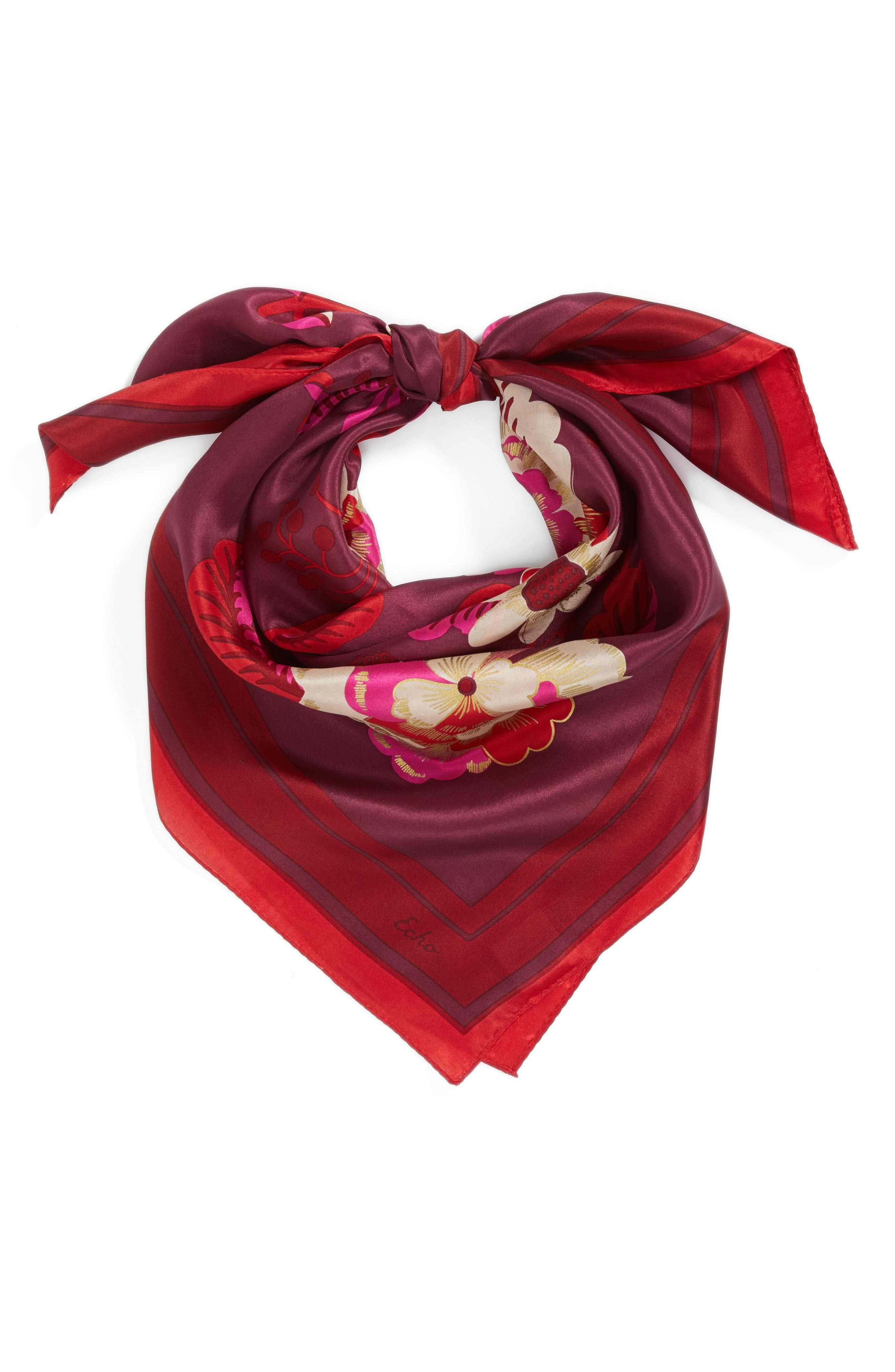 Bloomsbury Square Silk Scarf,                             Alternate thumbnail 3, color,                             Currant