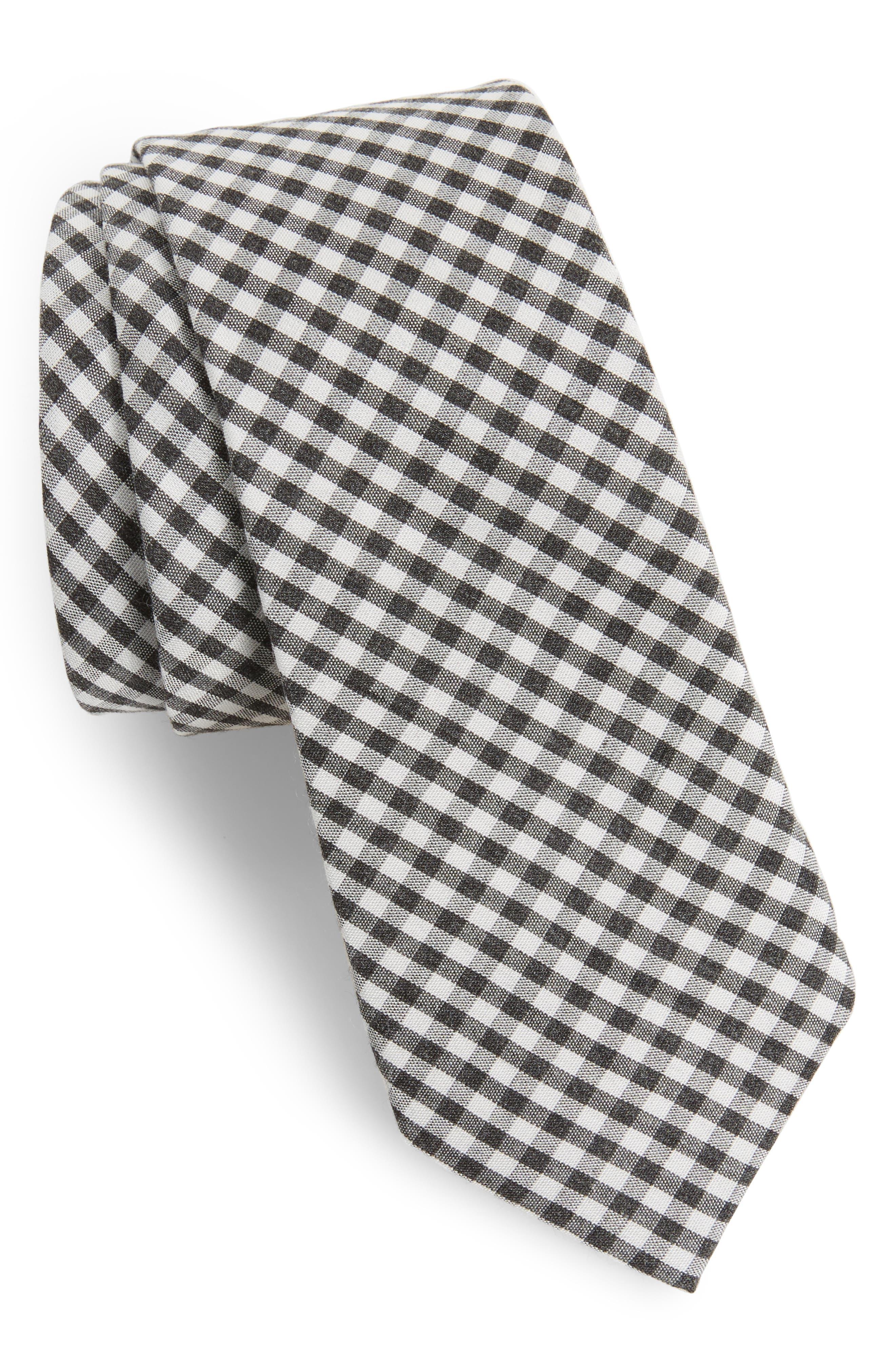 Cahill Check Skinny Tie,                         Main,                         color, Black