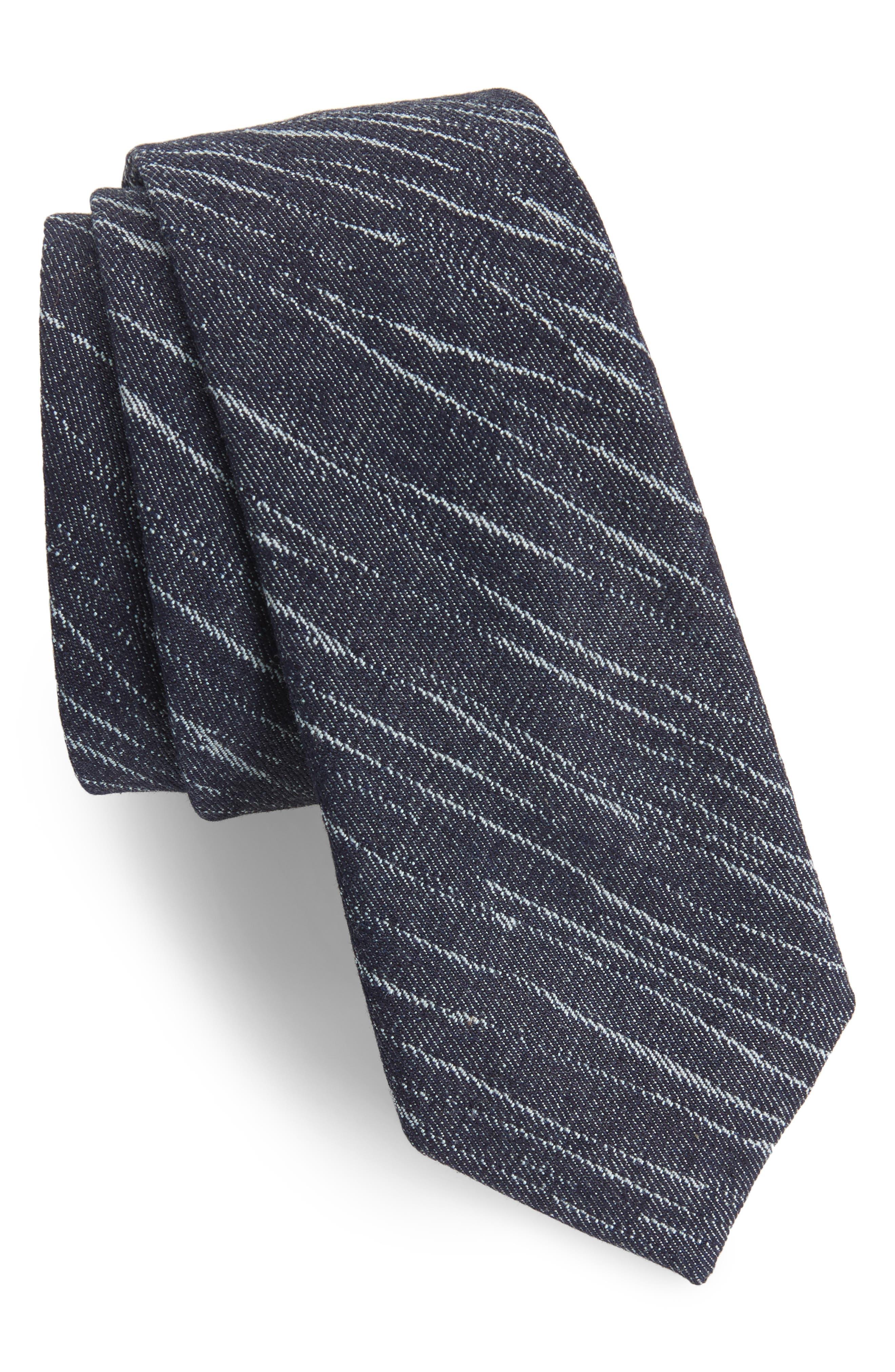 Patchwork Denim Skinny Tie,                             Main thumbnail 1, color,                             Denim