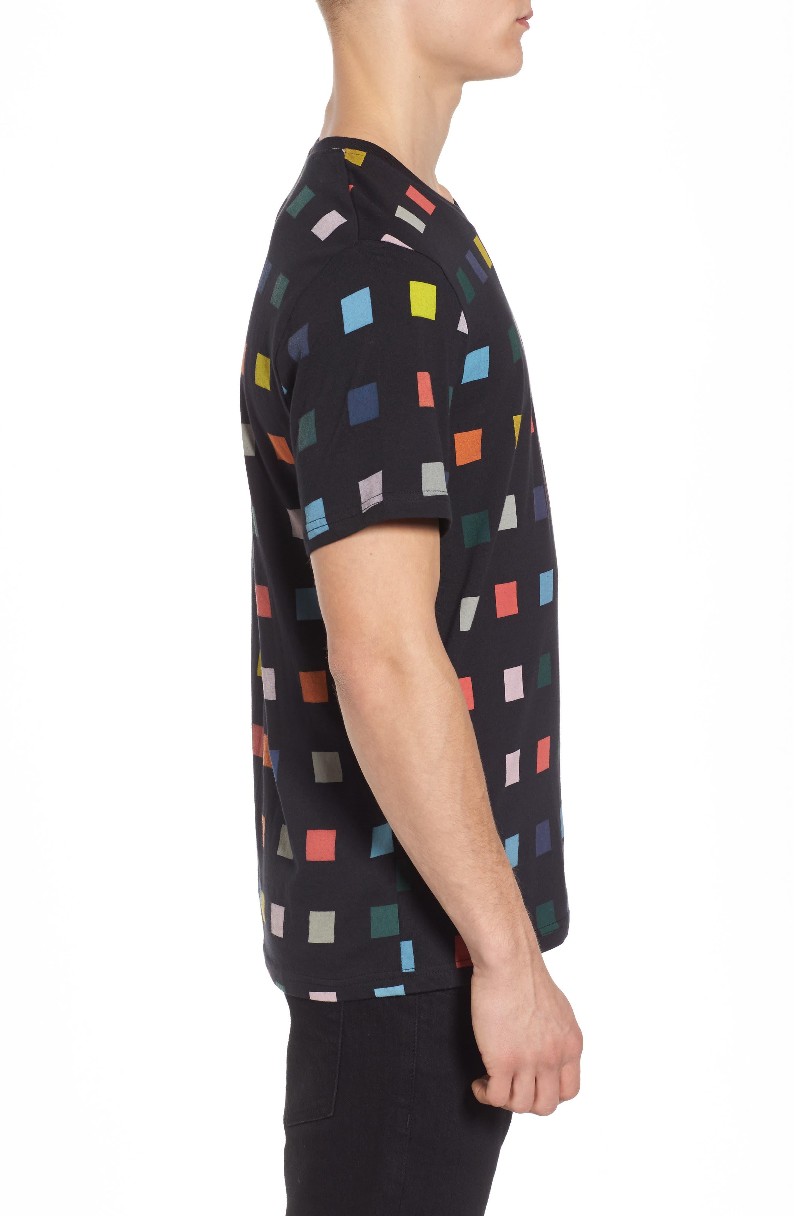 Squares T-Shirt,                             Alternate thumbnail 3, color,                             Black