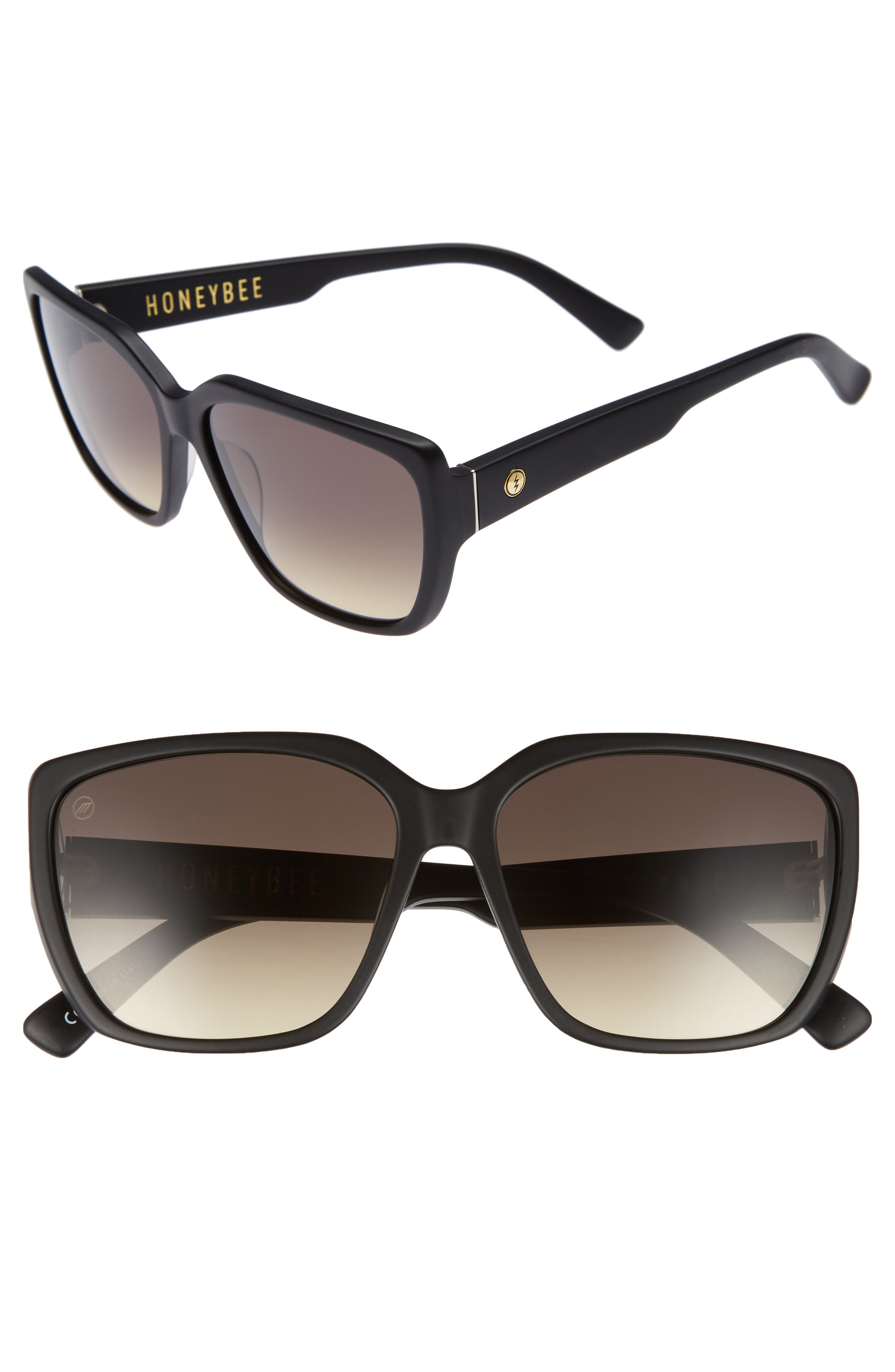 Honey Bee 60mm Mirrored Sunglasses,                         Main,                         color, Matte Black/ Black Gradient
