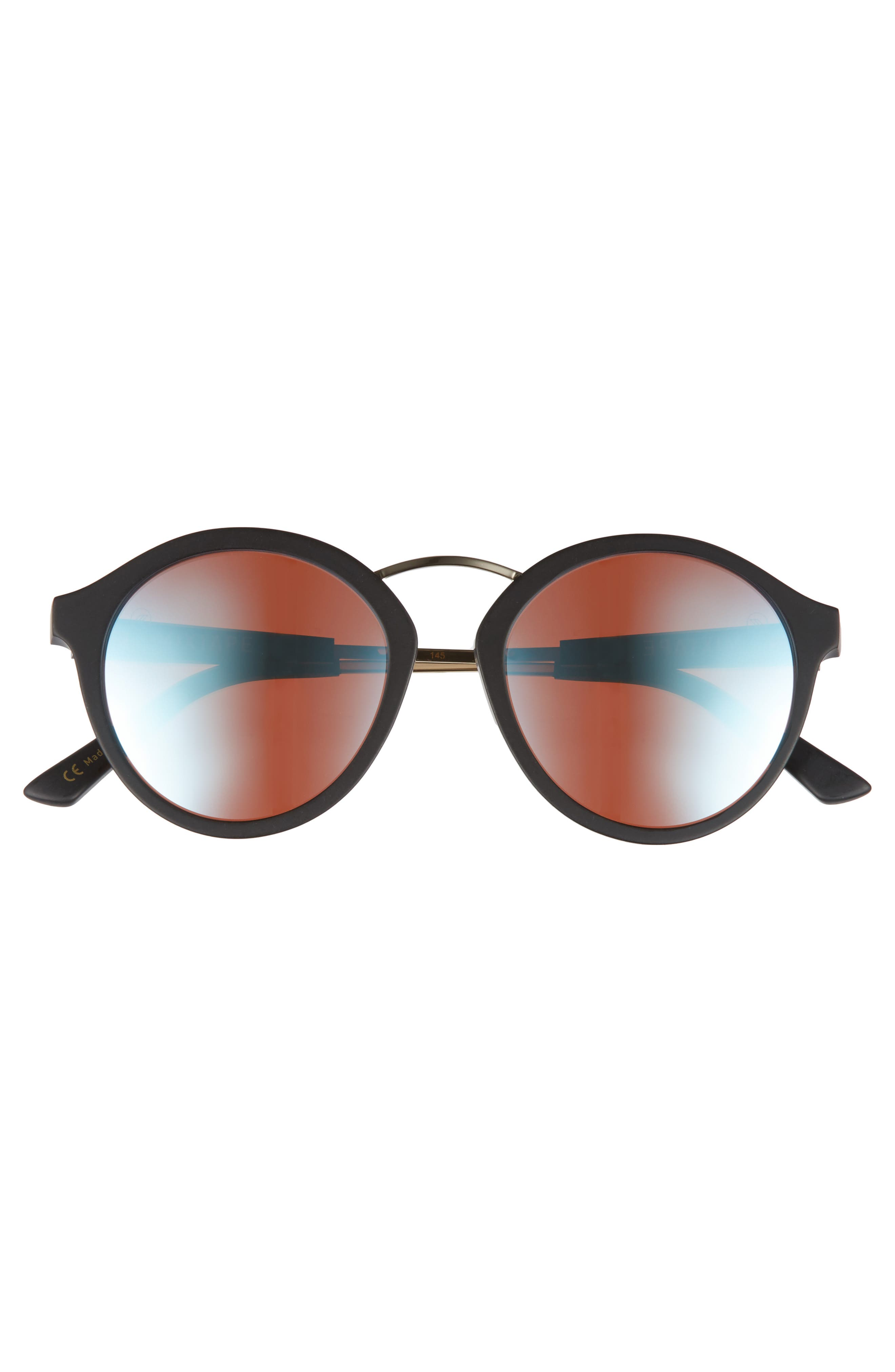 Mix Tape 52mm Mirrored Round Sunglasses,                             Alternate thumbnail 3, color,                             Matte Black/ Sky Blue Chrome