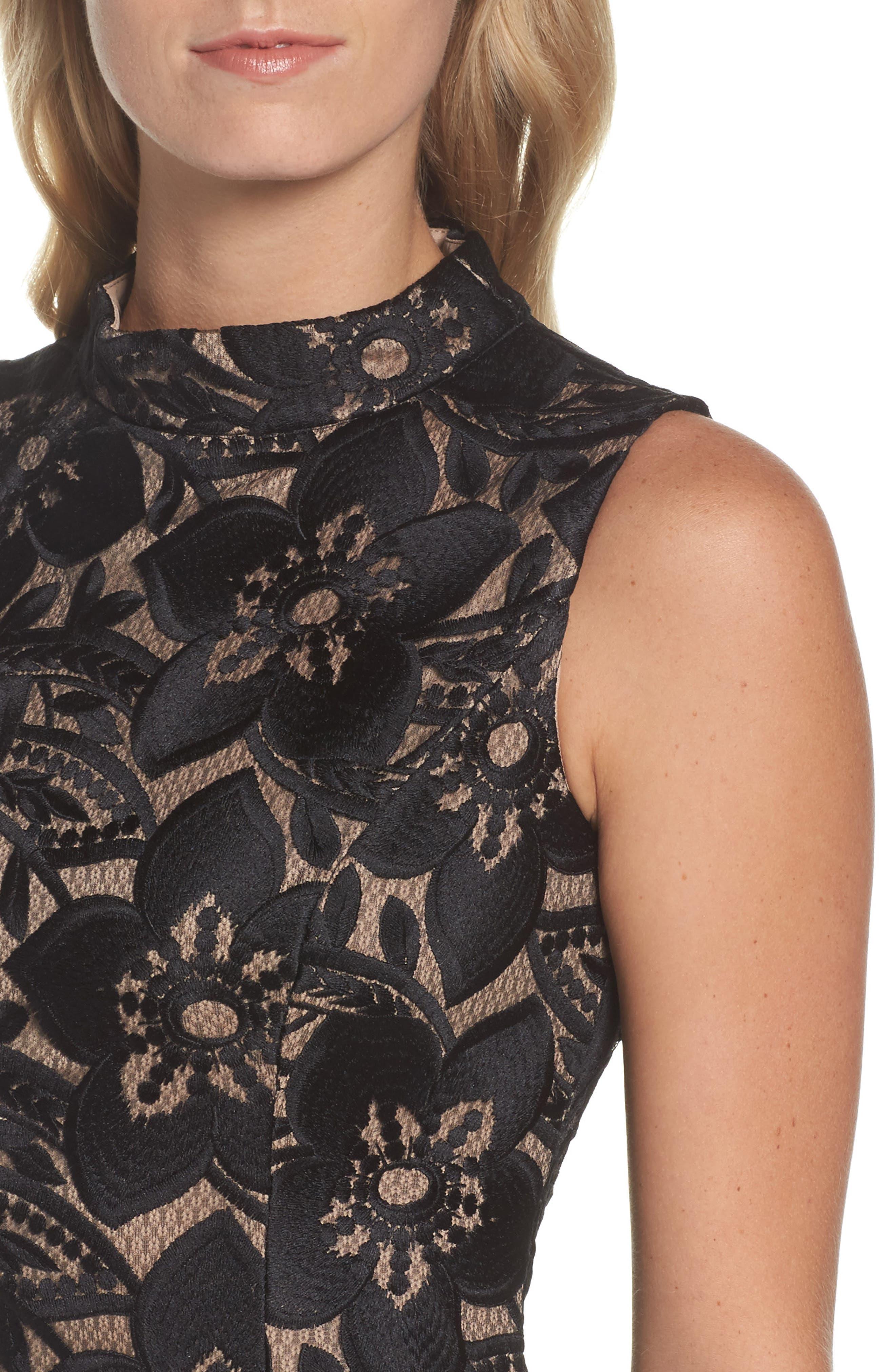 Lace Sheath Dress,                             Alternate thumbnail 4, color,                             Black