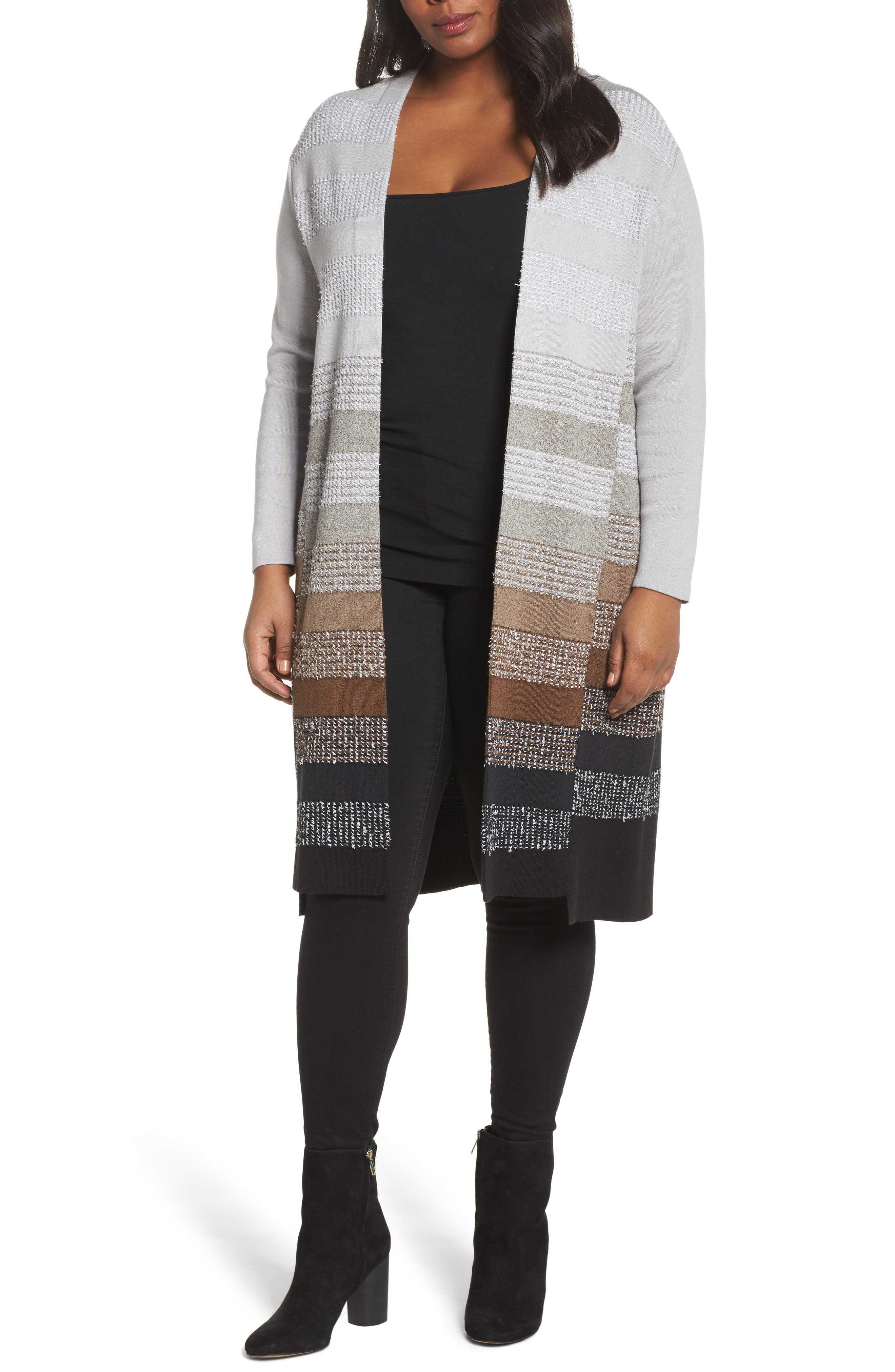 NIC+ZOE On the Town Long Cardigan (Plus Size)