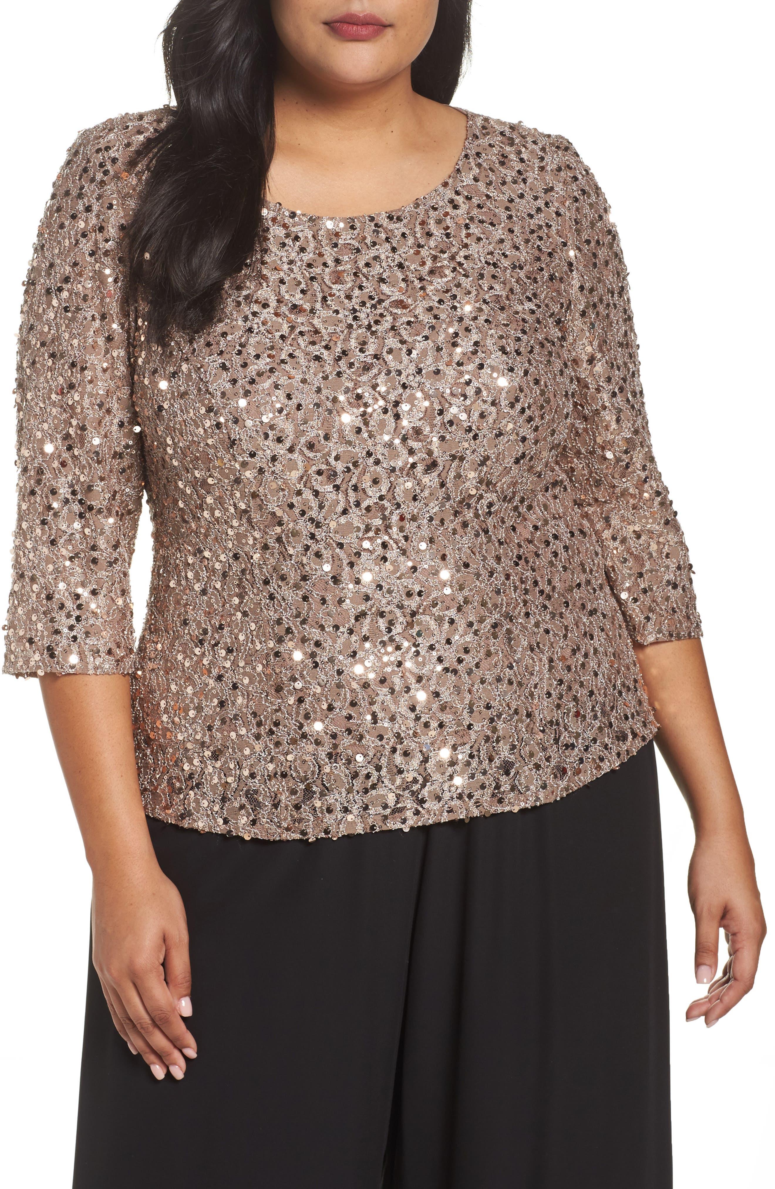 Main Image - Alex Evenings Sequin Top (Plus Size)