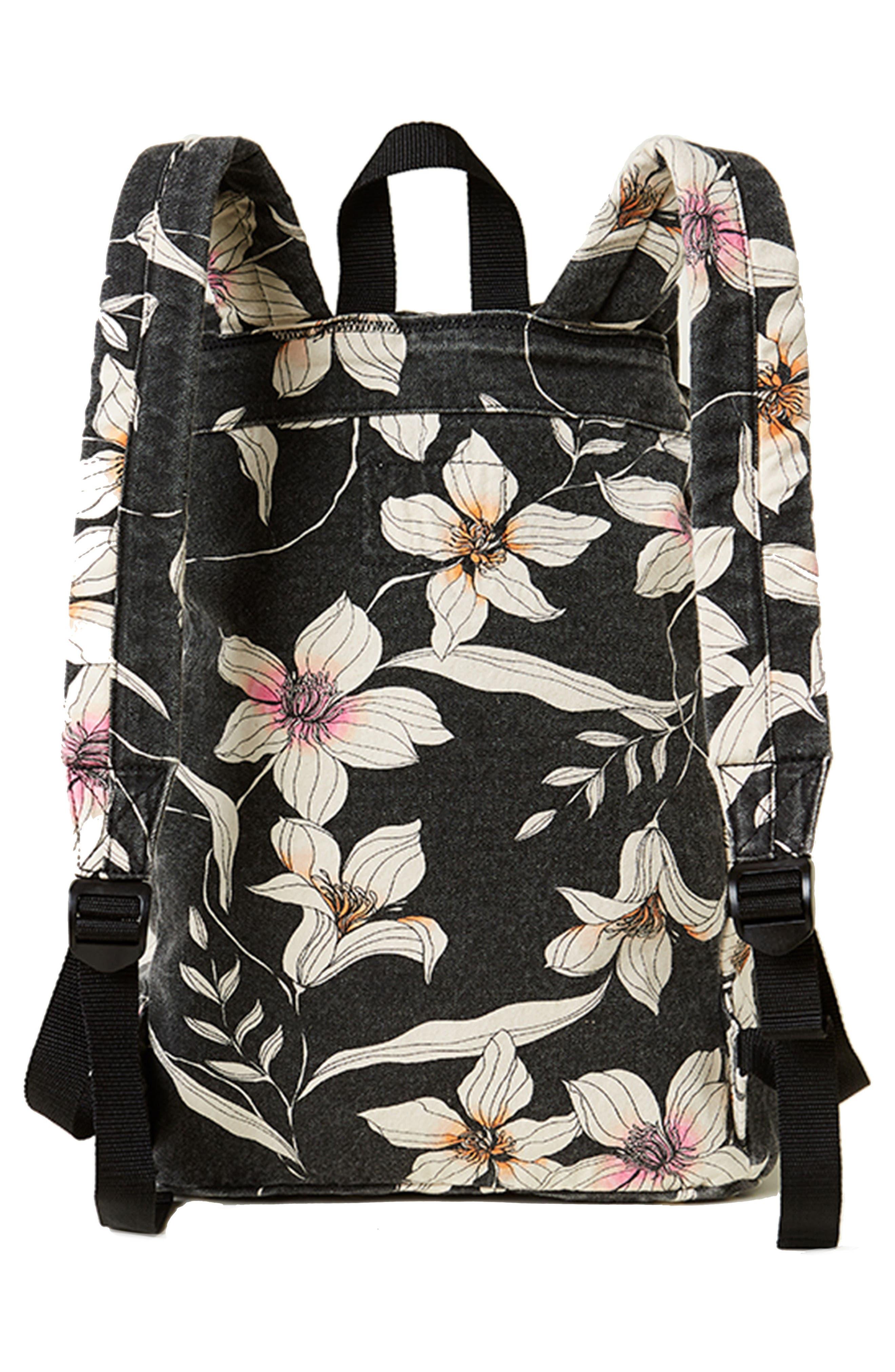 Starboard Floral Print Canvas Backpack,                             Alternate thumbnail 2, color,                             Black