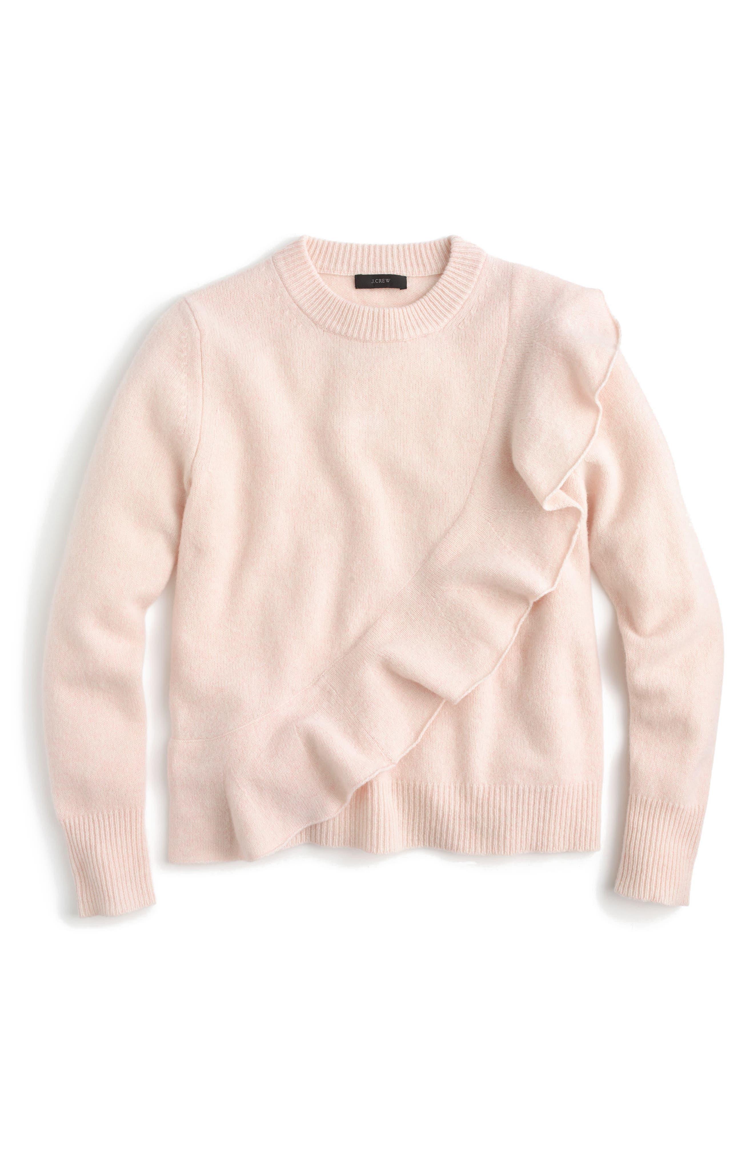 J.Crew Harold Ruffle Boiled Wool Sweater