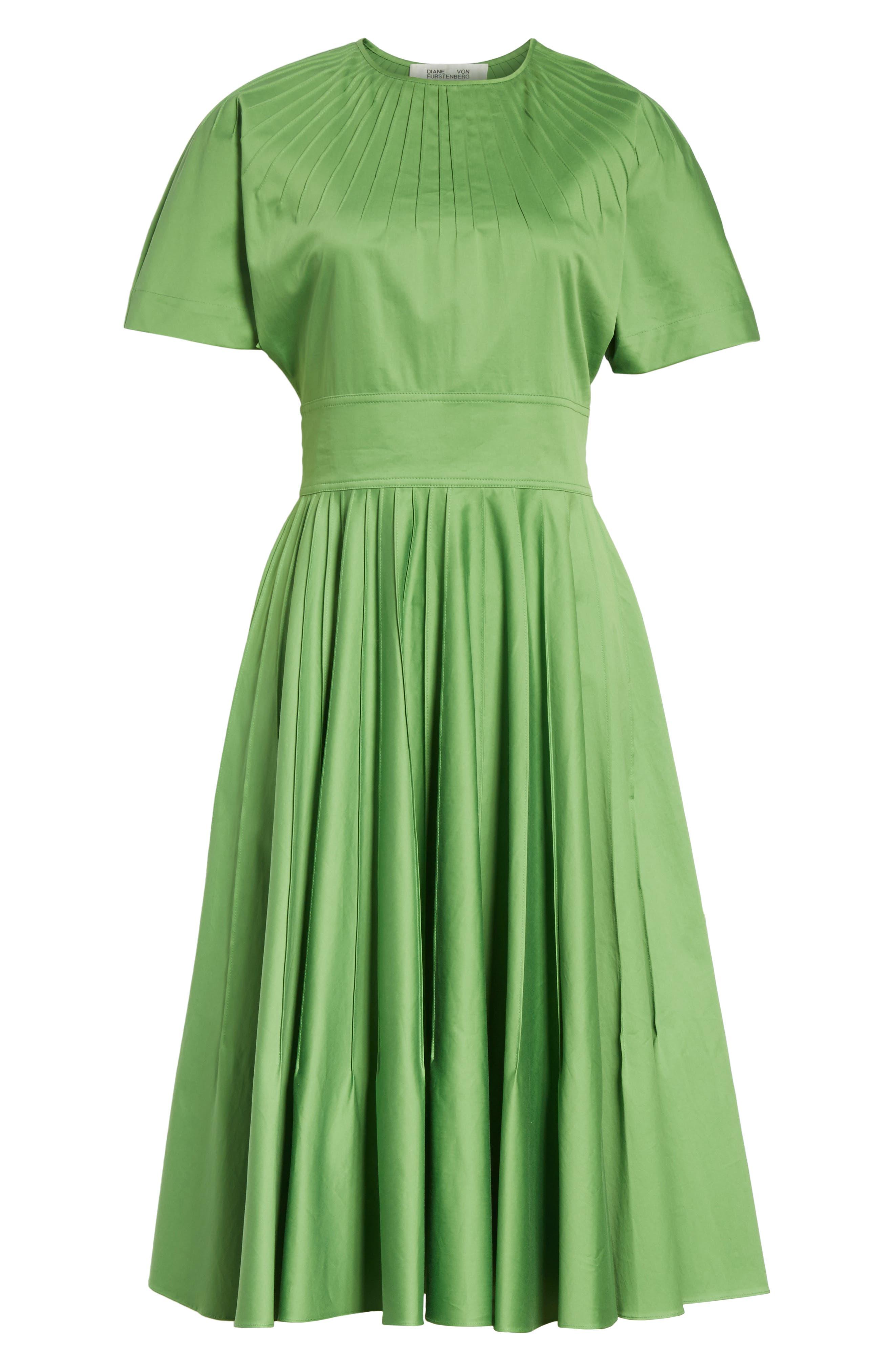 Diane von Furstenberg Pintuck Dress,                             Alternate thumbnail 6, color,                             Grass