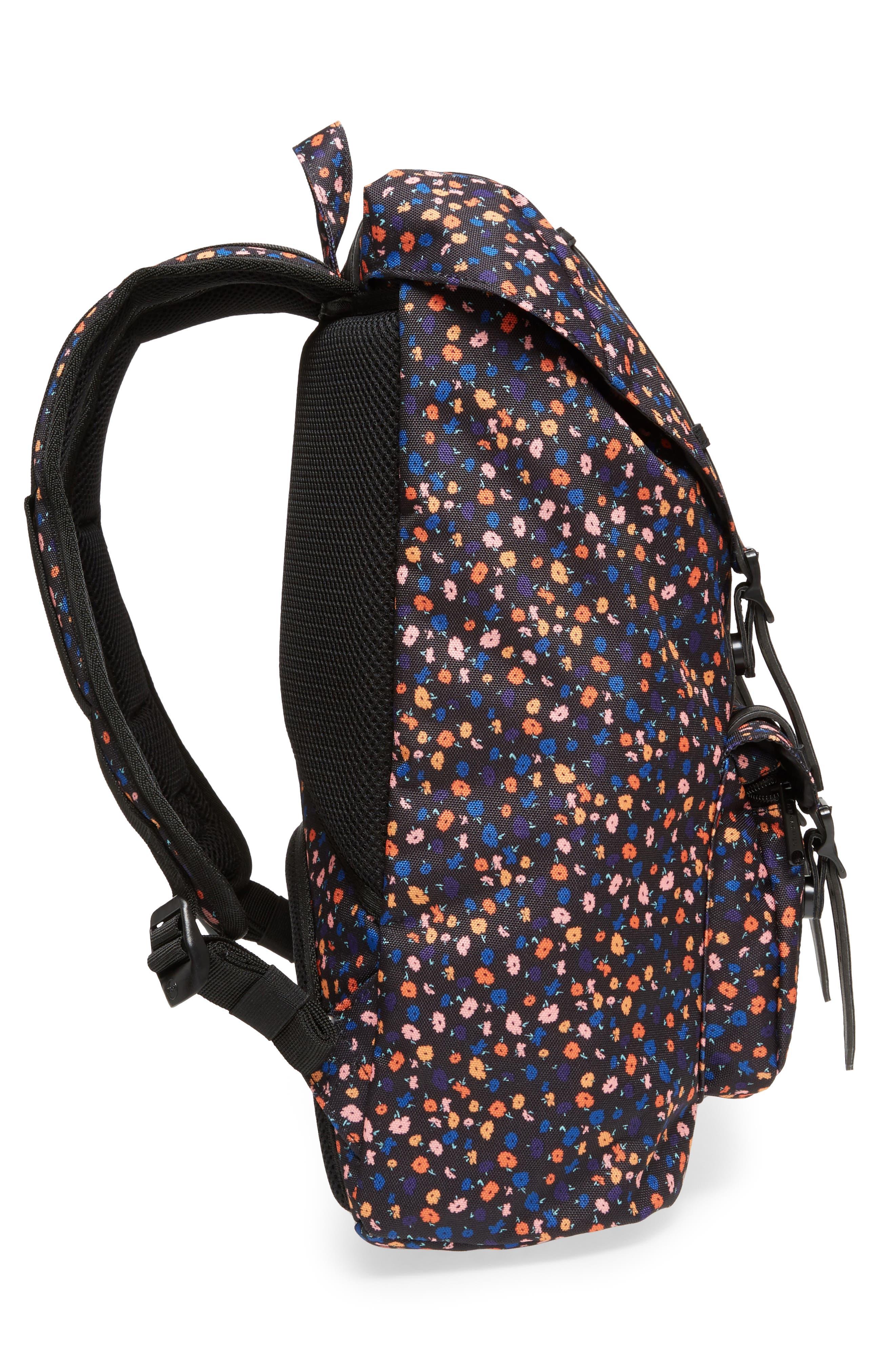 Little America - Mid Volume Backpack,                             Alternate thumbnail 6, color,                             Black Mini Floral