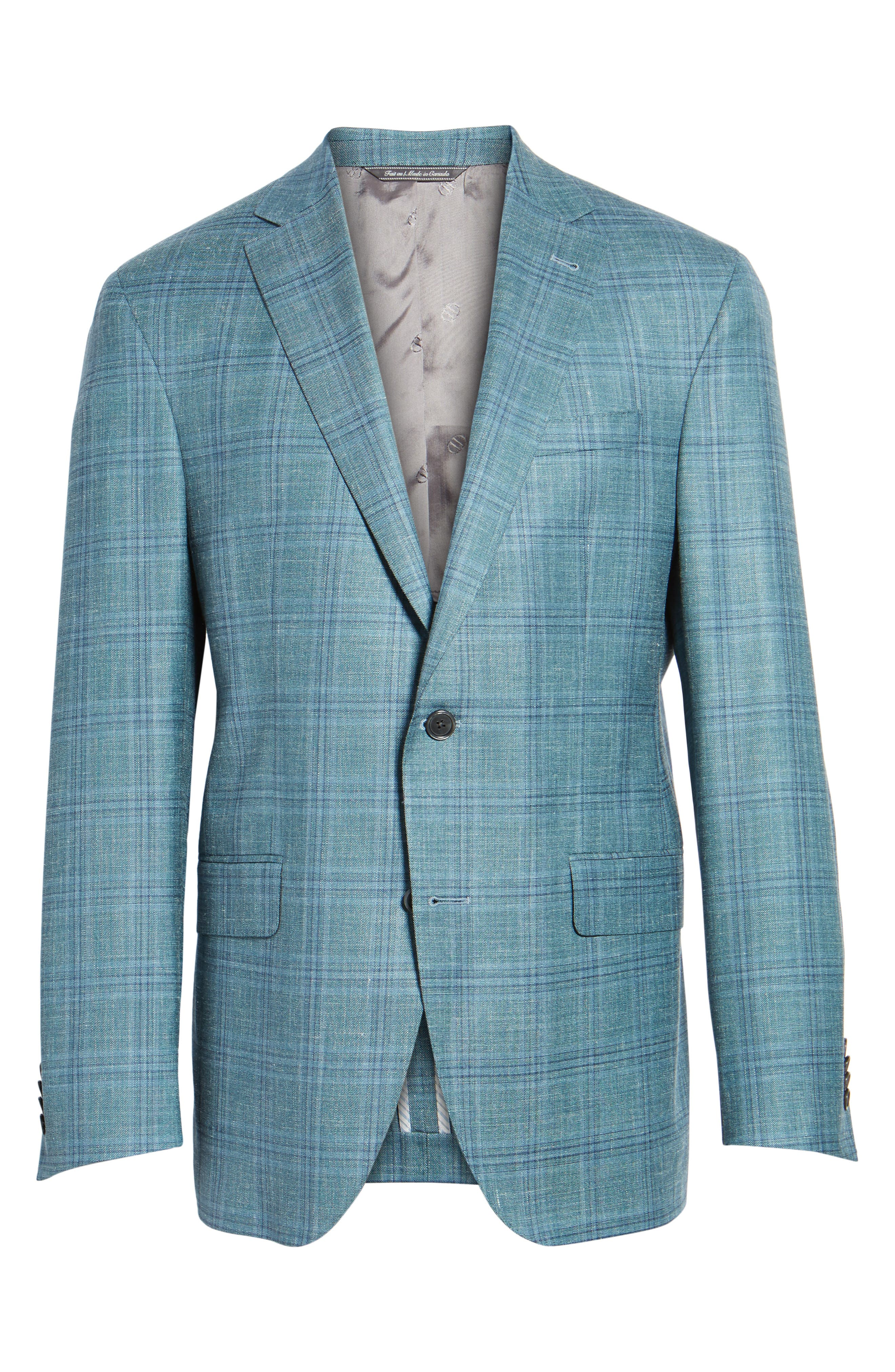 Ashton Classic Fit Stretch Plaid Wool Blend Sport Coat,                             Alternate thumbnail 6, color,                             Green