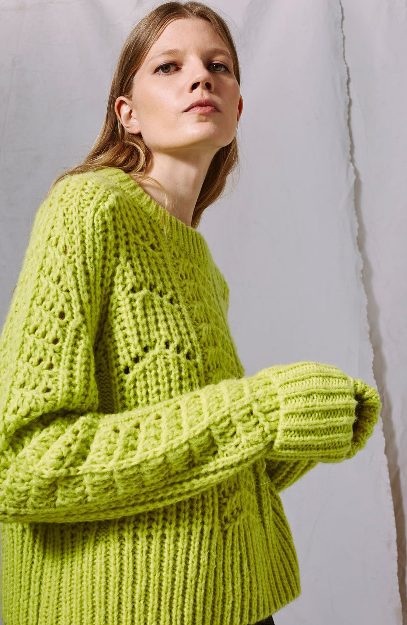 Cable Knit Sweater,                             Alternate thumbnail 3, color,                             Bright Green