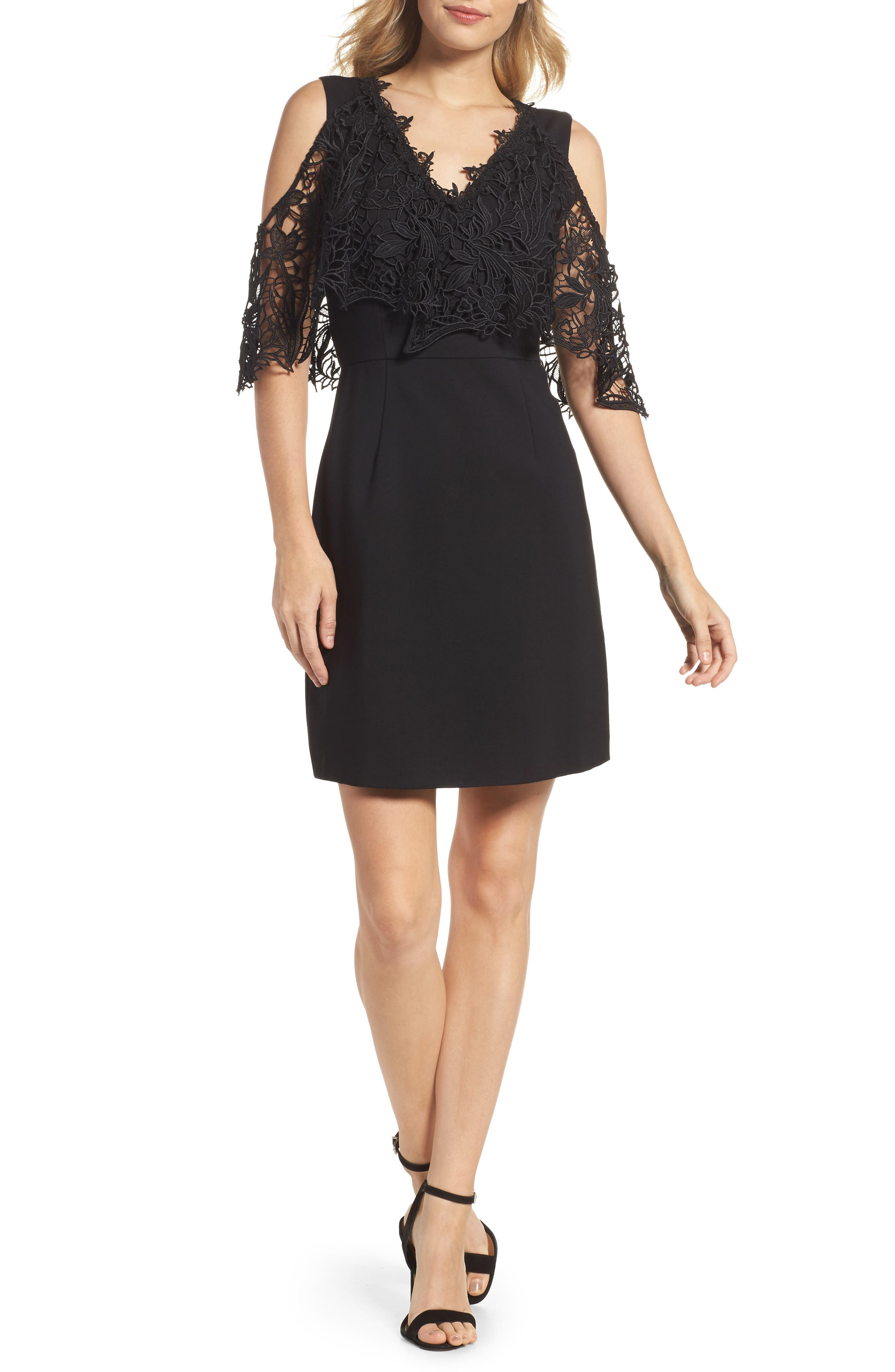 Kena Cold Shoulder Sheath Dress,                             Main thumbnail 1, color,                             Black