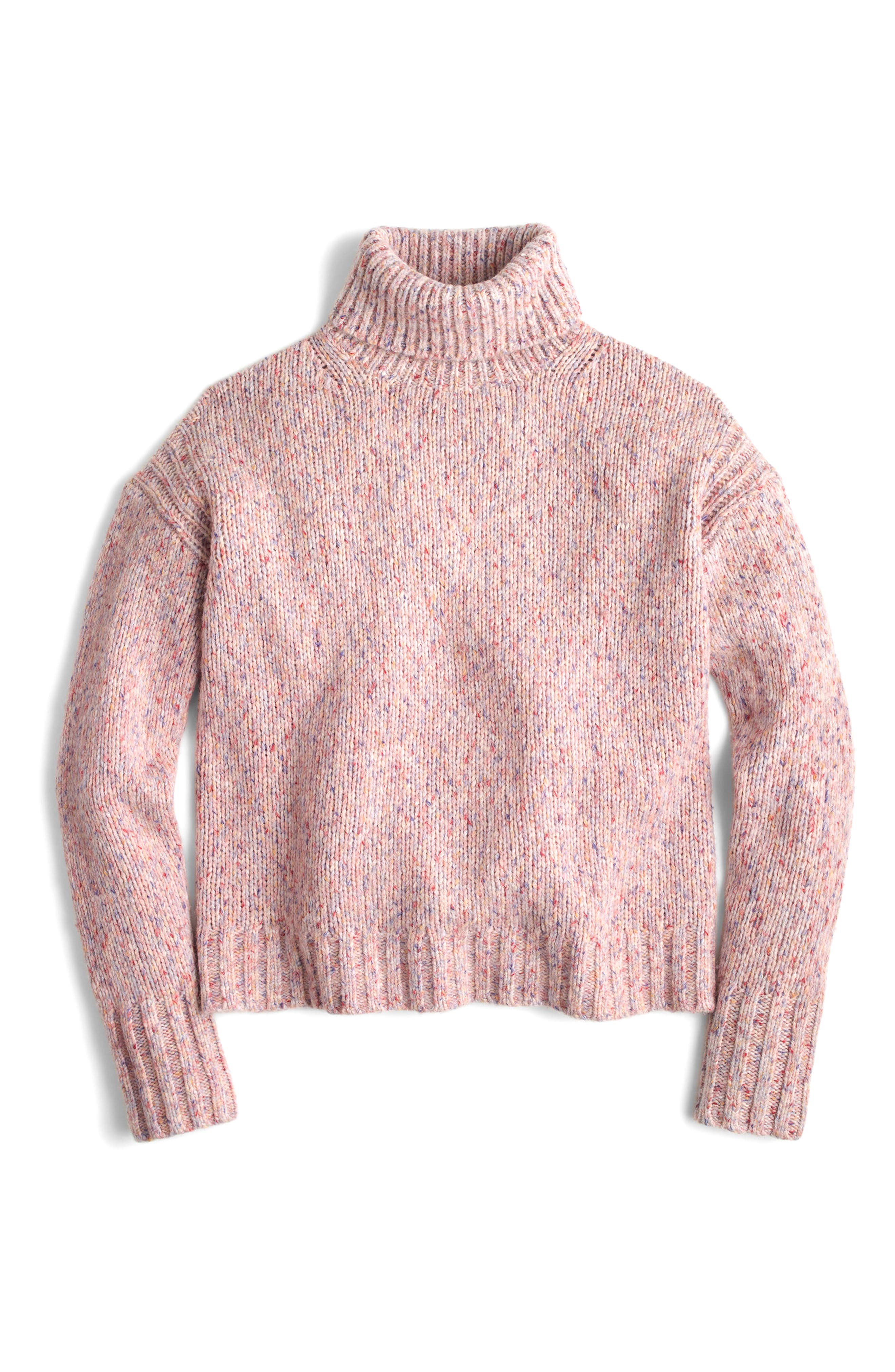 J.Crew Marled Wool Blend Turtleneck Sweater,                             Alternate thumbnail 4, color,                             Marled Confetti
