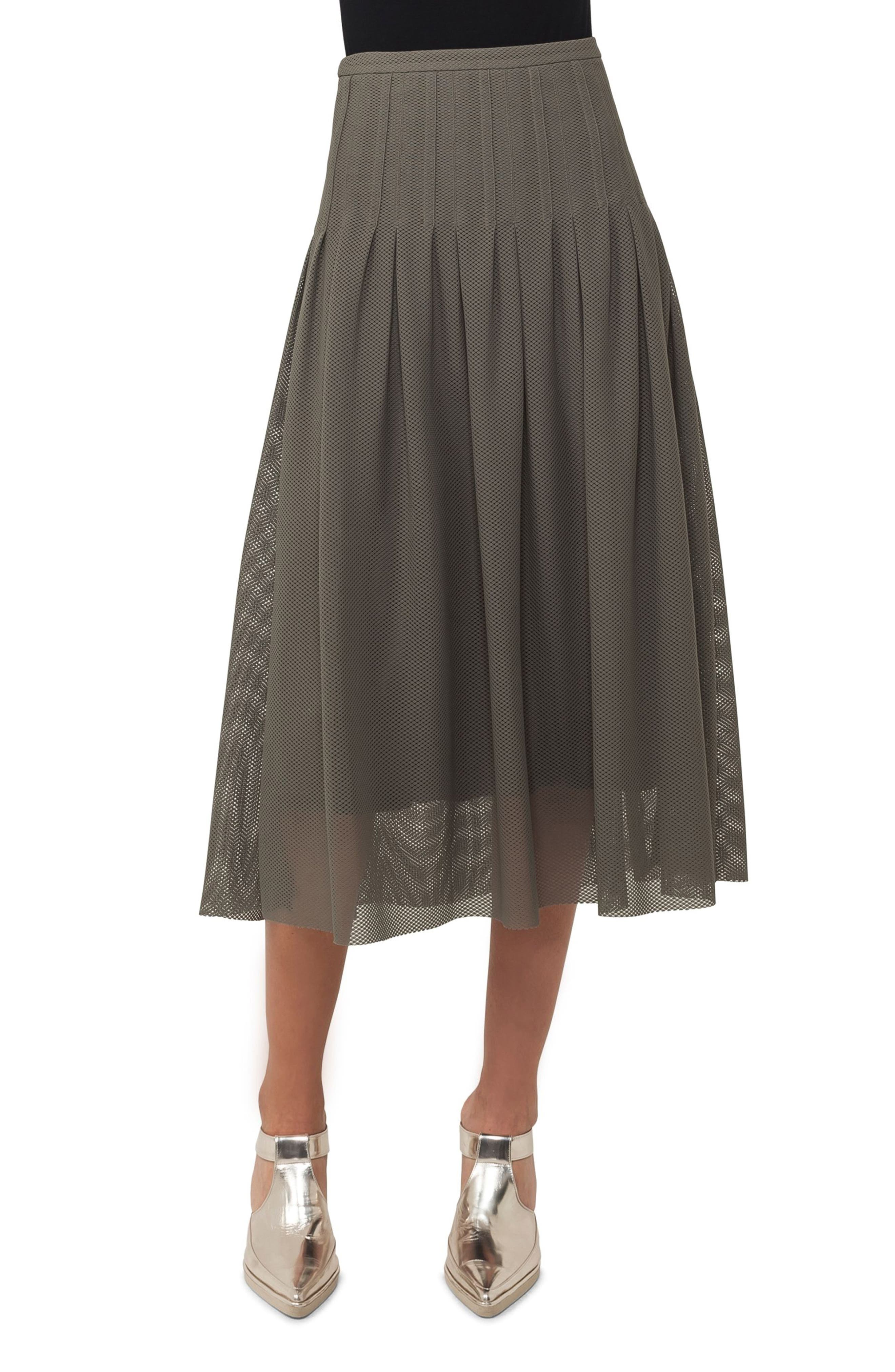 3D Lace Midi Skirt,                         Main,                         color, Avocado