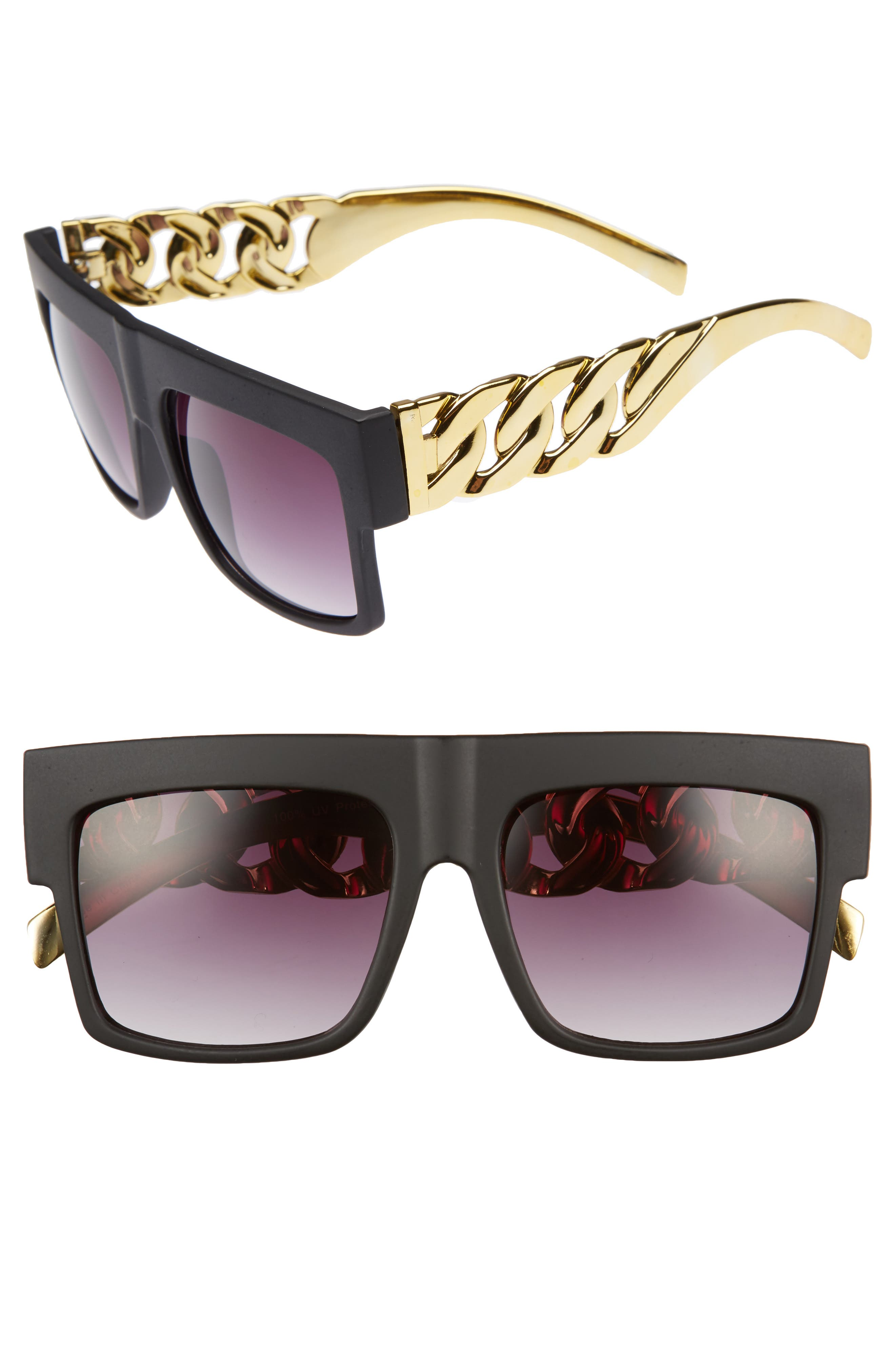 52mm Chain Detail Shield Sunglasses,                         Main,                         color, Black/ Gold
