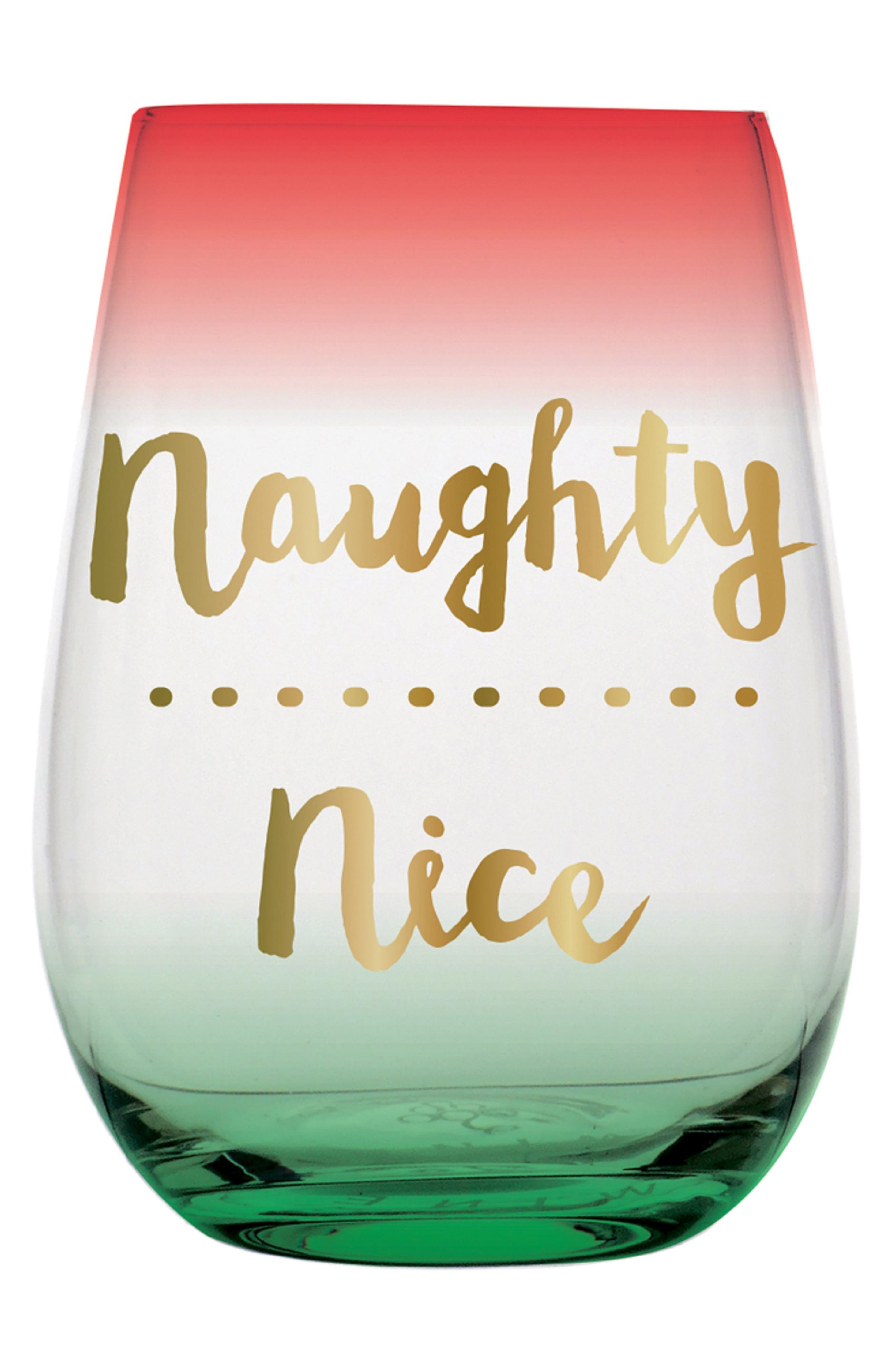 Slant Collection Naughty Nice Stemless Wine Glass