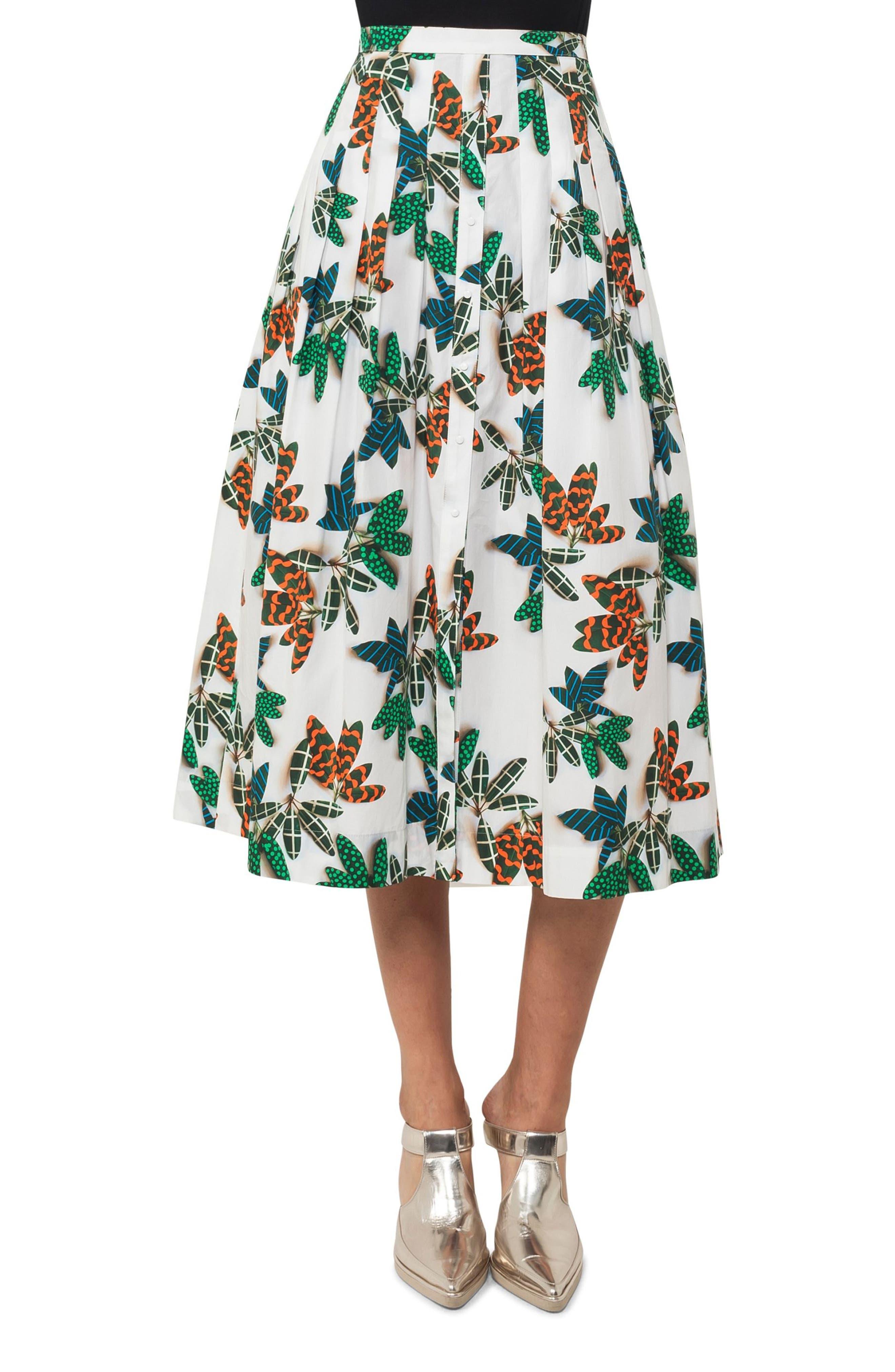 Akris punto Tropical Print Cotton Midi Skirt