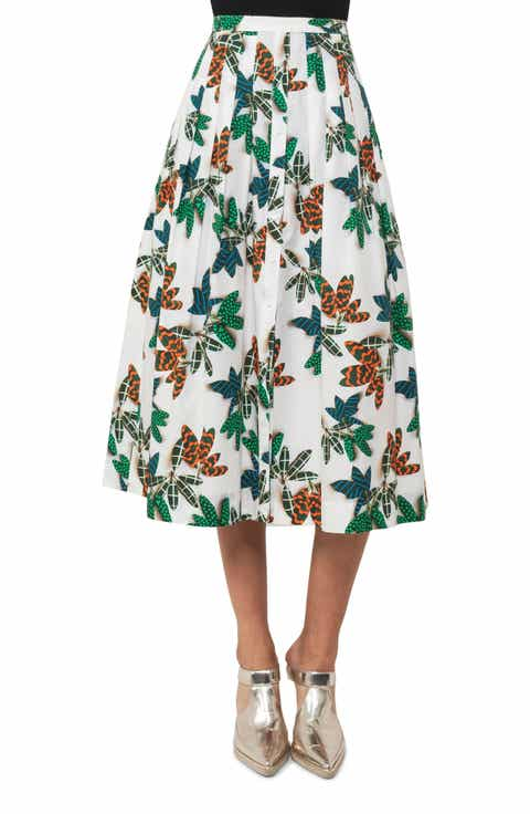 Akris punto Tropical Print Cotton Midi Skirt