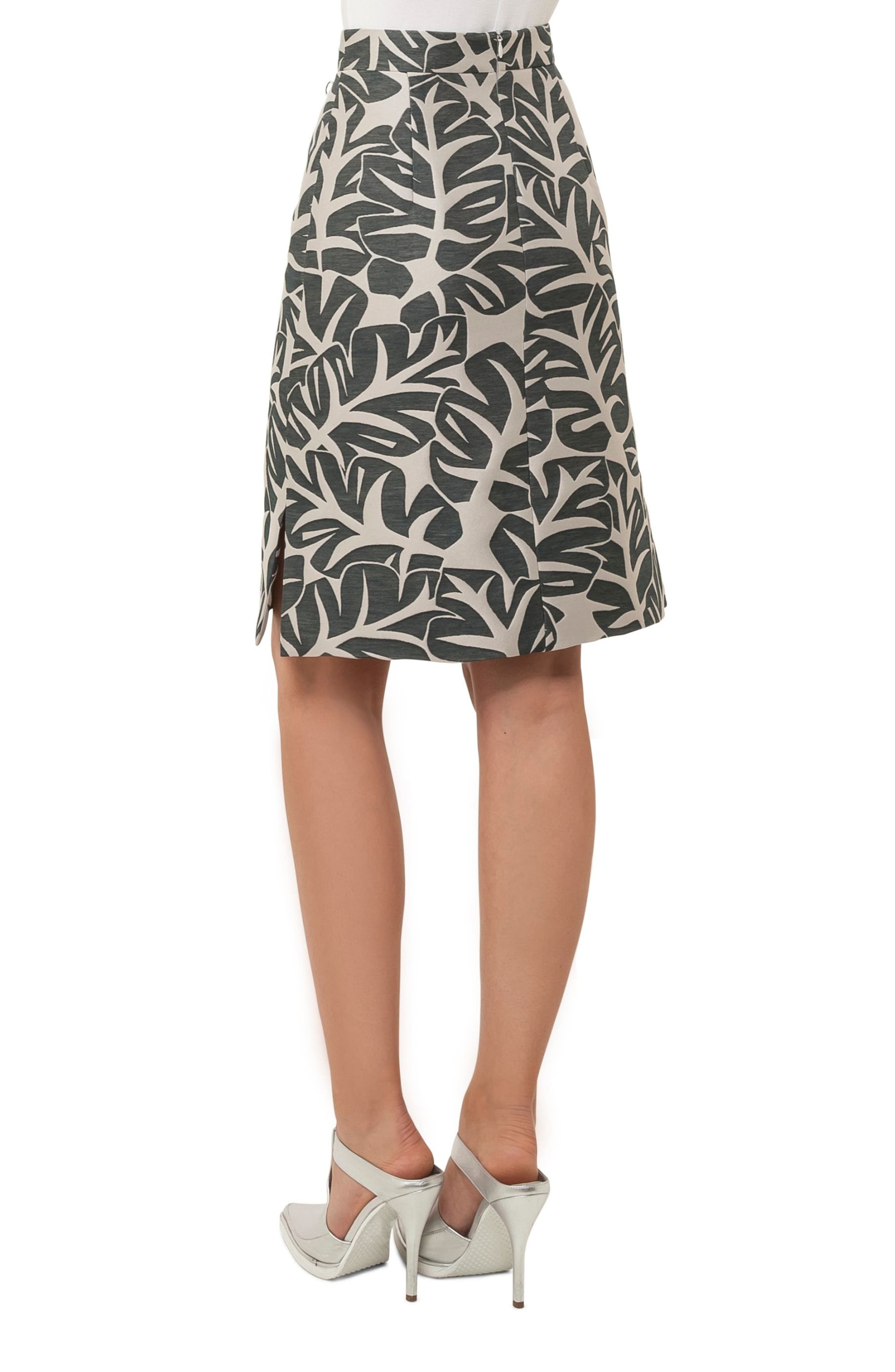 Tropical Leaf Pattern A-Line Skirt,                             Alternate thumbnail 2, color,                             Sand / Avocado