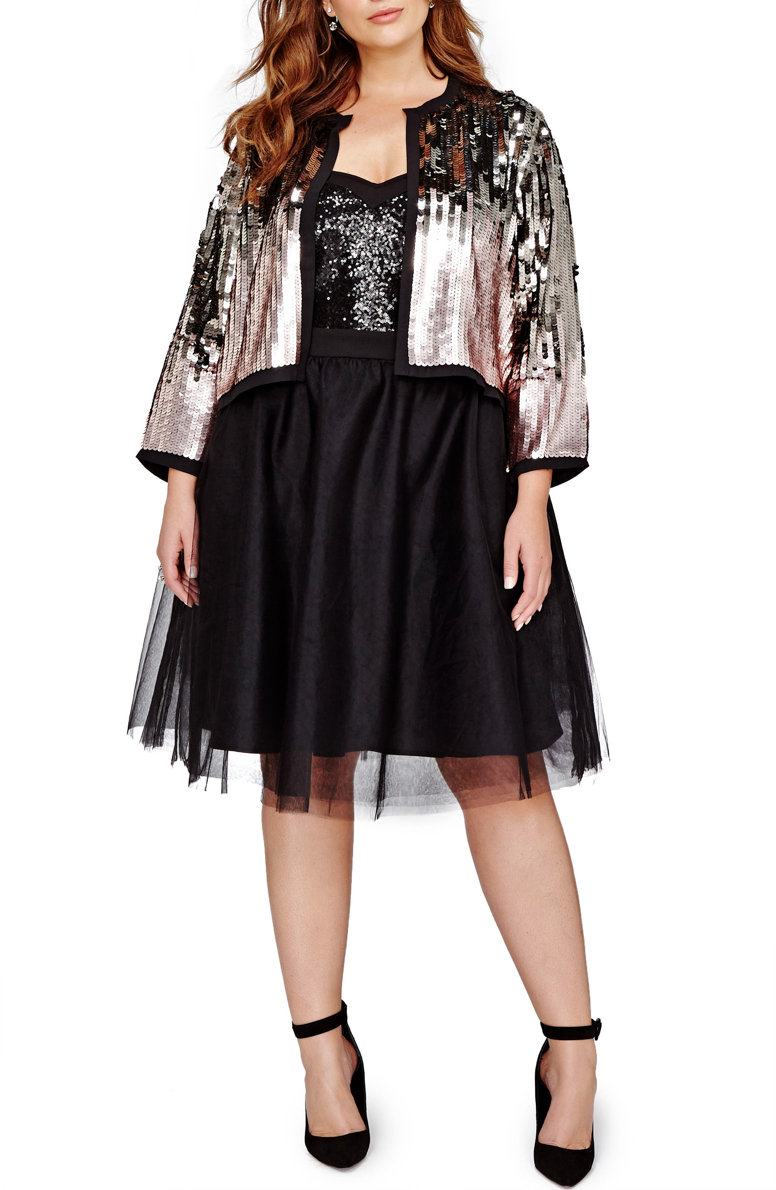 Alternate Image 1 Selected - MICHEL STUDIO Sequin Crop Jacket (Plus Size)