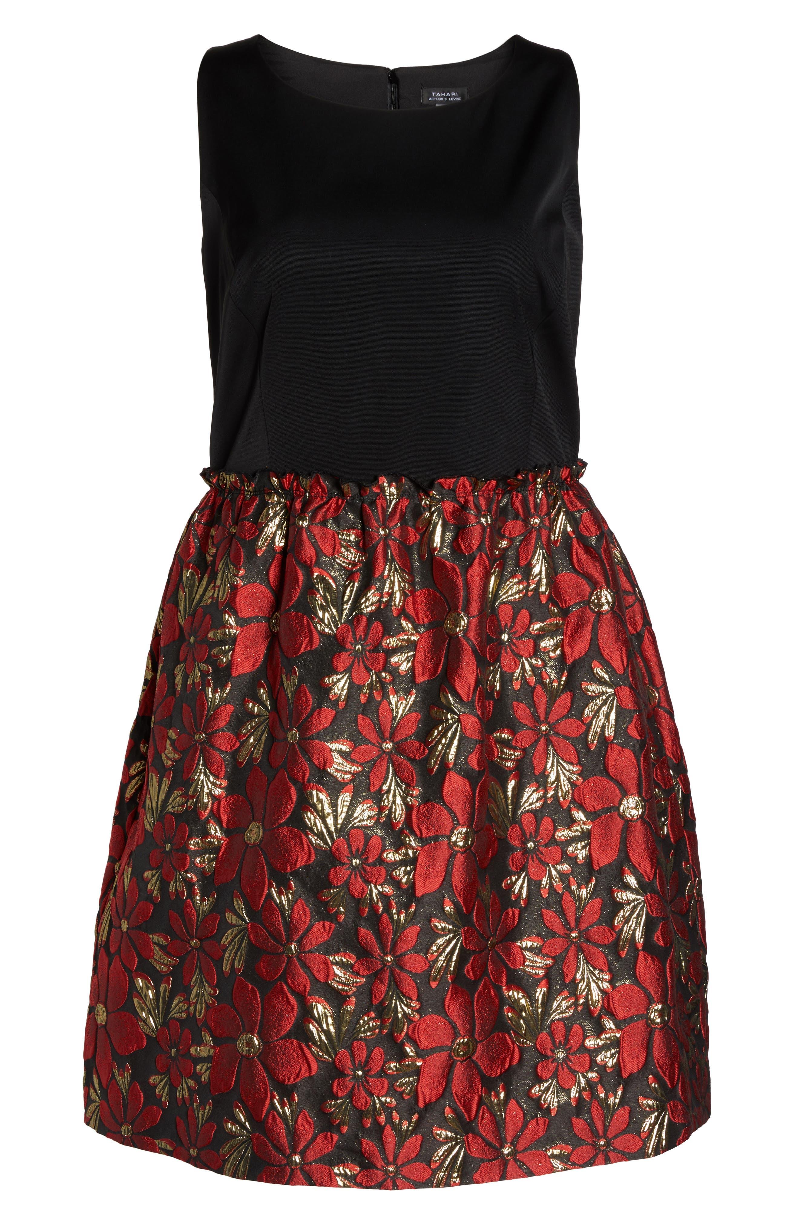 Sleeveless Jacquard Fit & Flare Dress,                             Alternate thumbnail 6, color,                             Black/ Red/ Gold