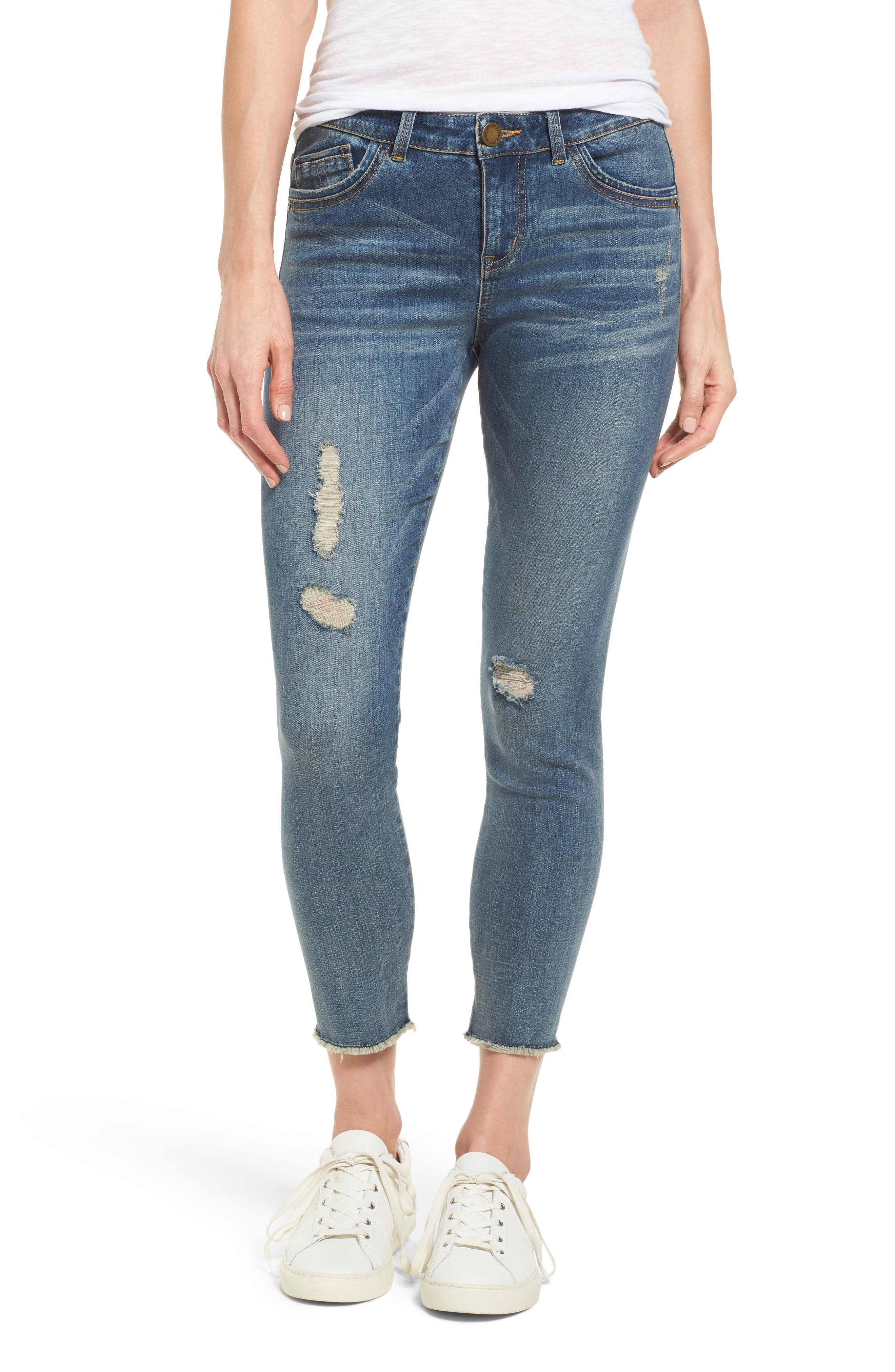 Ripped Seamless Ankle Jeans,                         Main,                         color, Blue