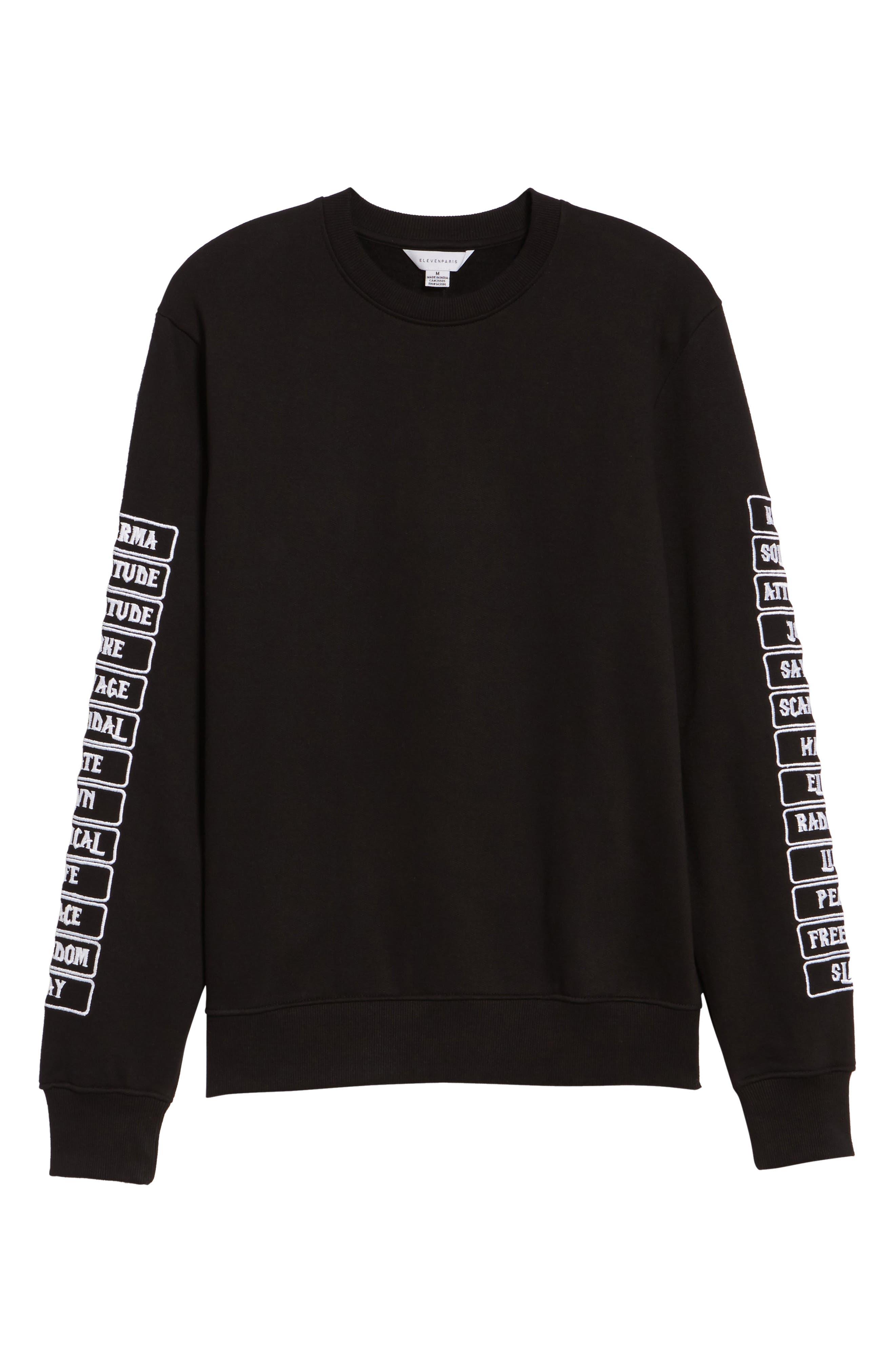 Meace Fleece Sweatshirt,                             Alternate thumbnail 6, color,                             Black