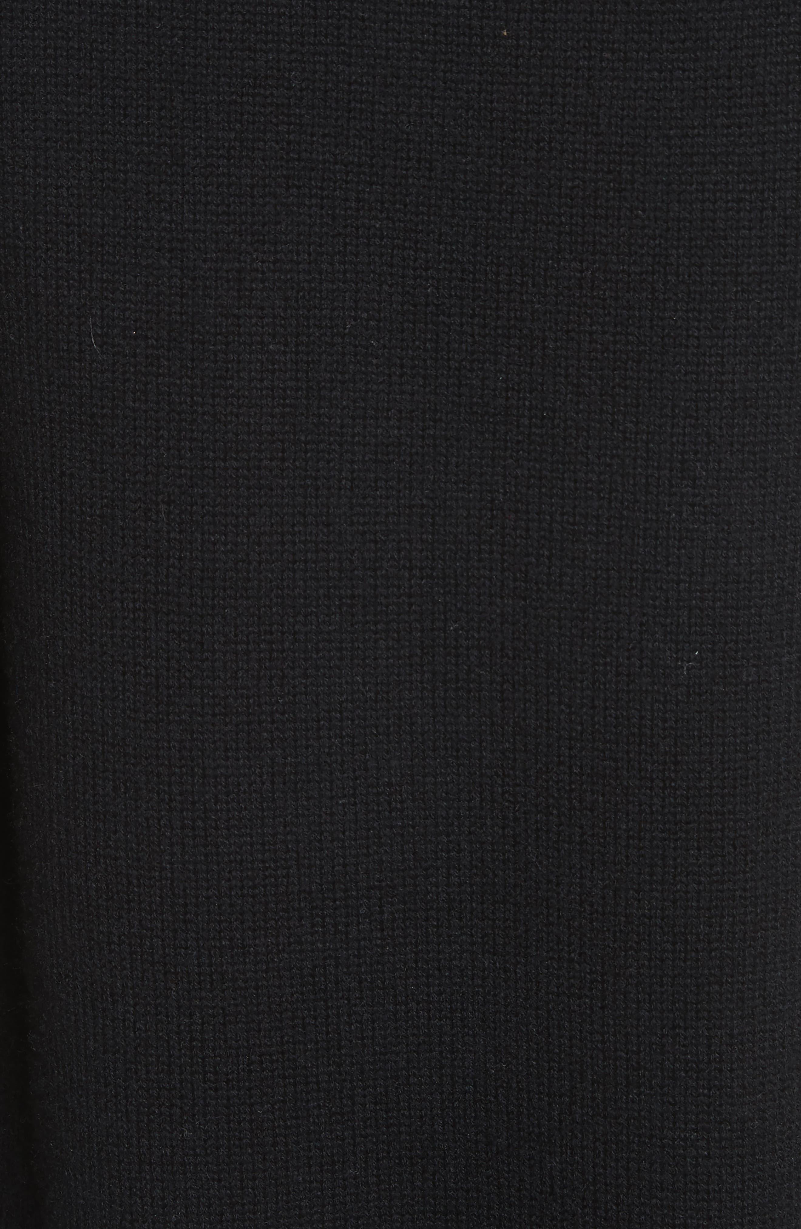 Ruffle Wool & Cashmere Sweater Dress,                             Alternate thumbnail 5, color,                             Black
