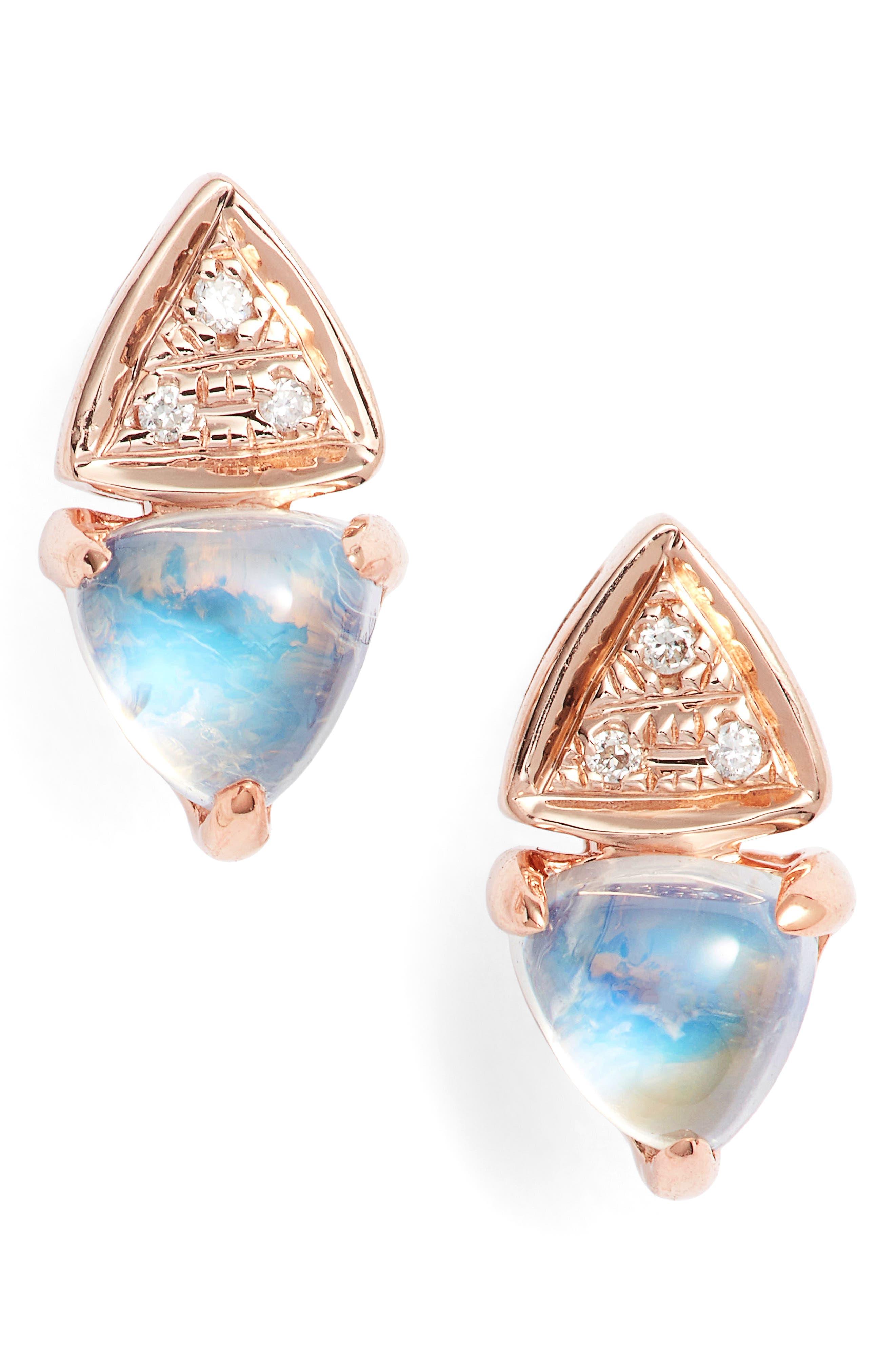 Diamond & Stone Stud Earrings,                         Main,                         color, Rose Gold