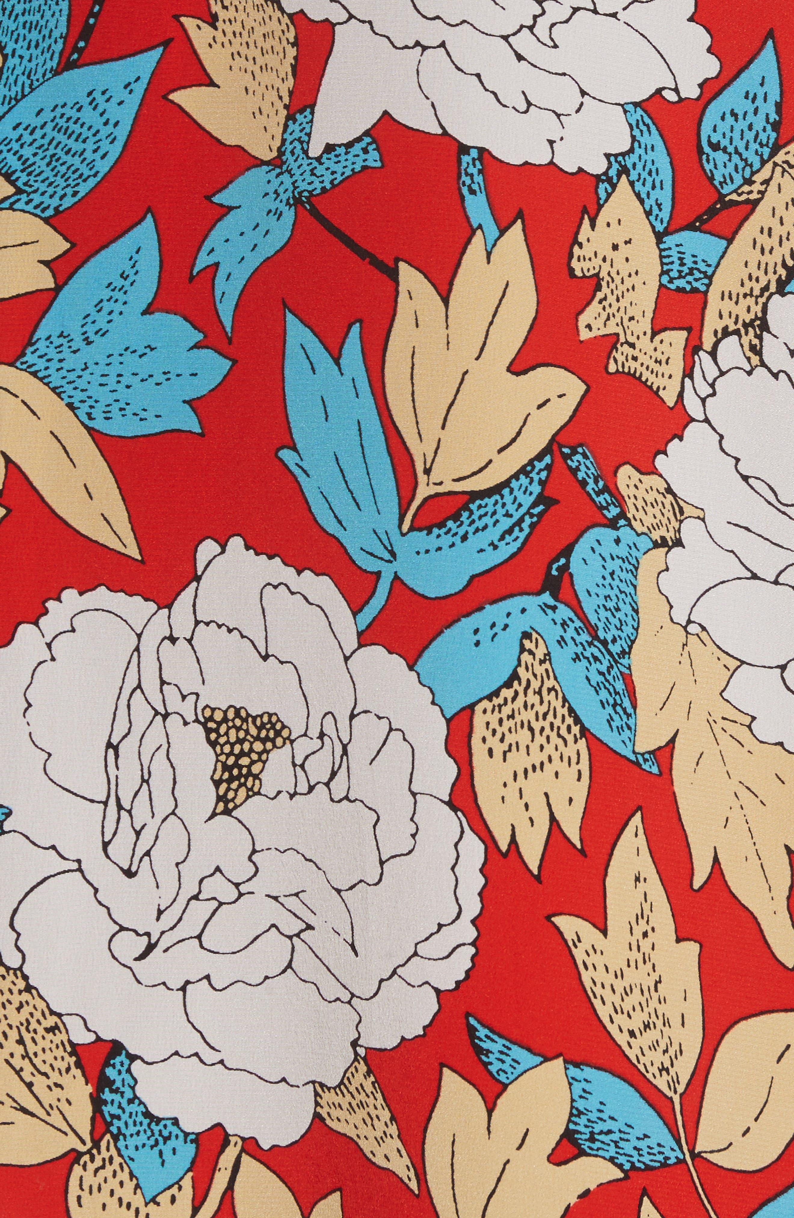 Diane von Furstenberg Floral Silk Midi Skirt,                             Alternate thumbnail 5, color,                             Boswell Poppy