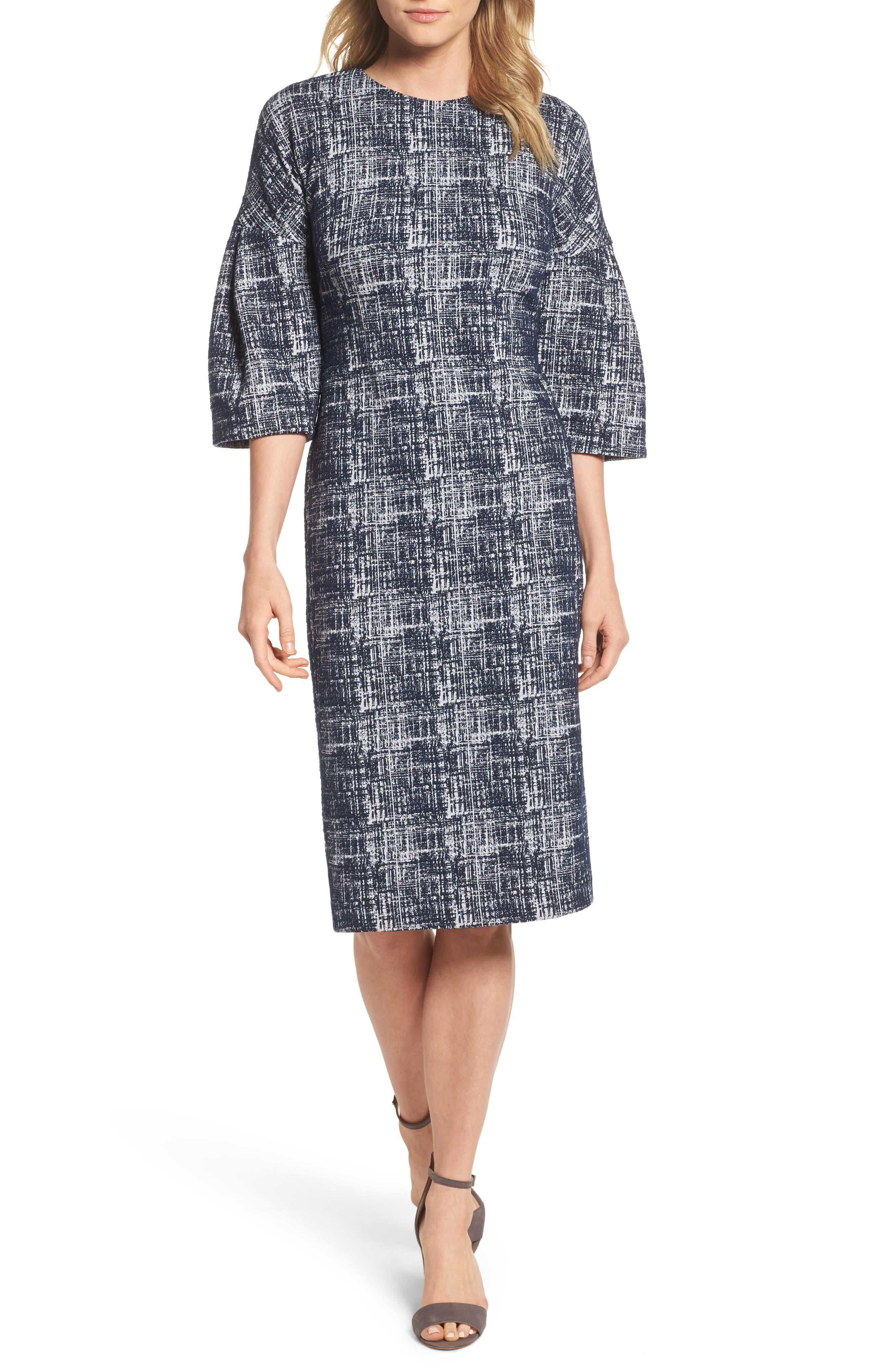 Midi Shift Dress,                             Main thumbnail 1, color,                             Navy/ White