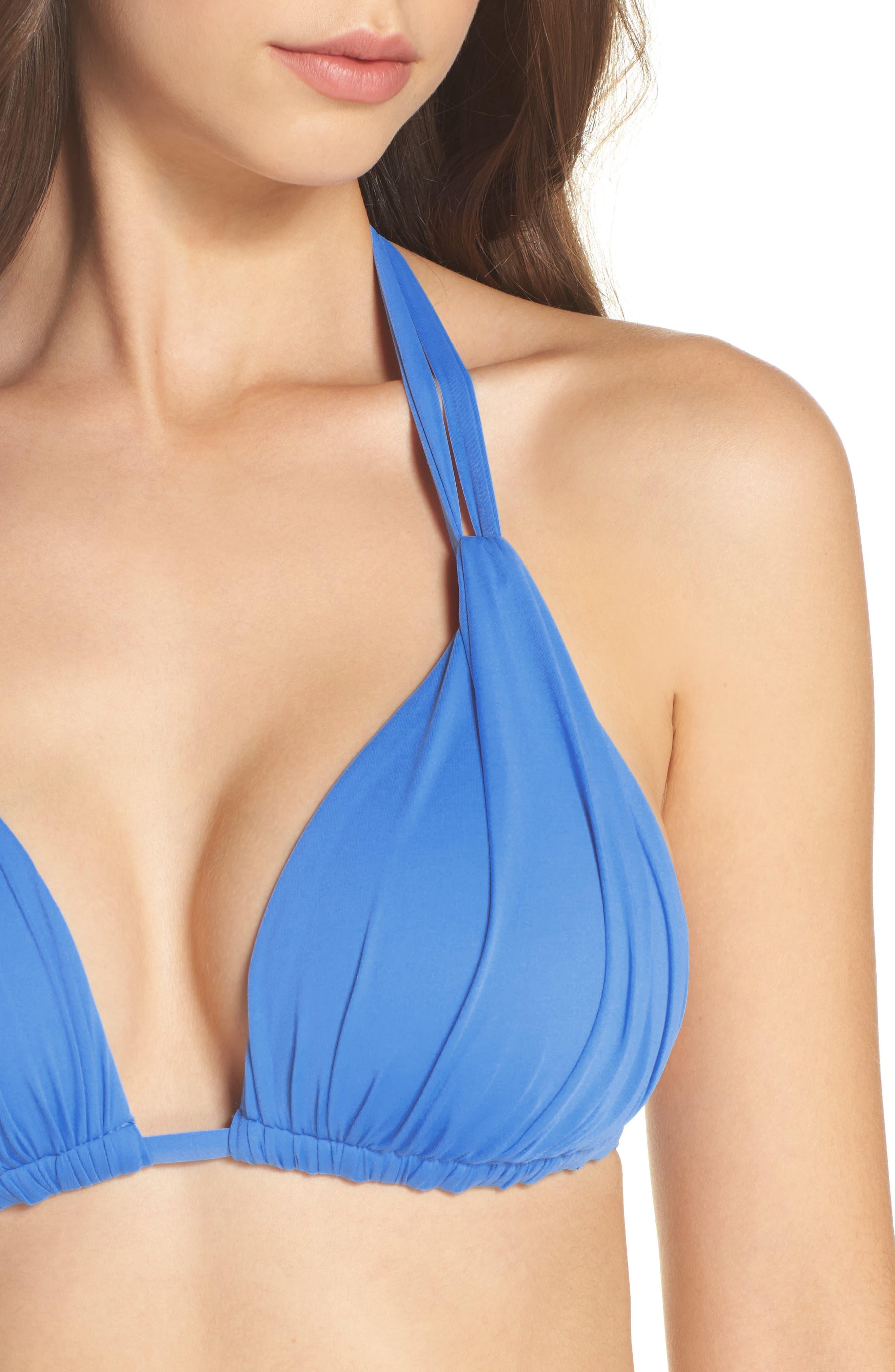 Island Blanca Halter Bikini Top,                             Alternate thumbnail 4, color,                             Blue Suede